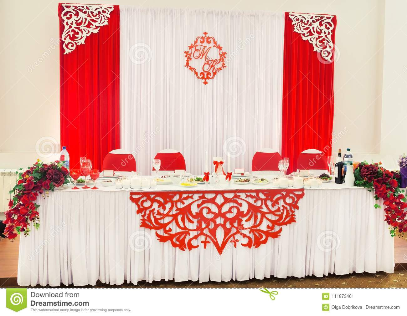 Wedding Decorations Of White And Red Color On Table For