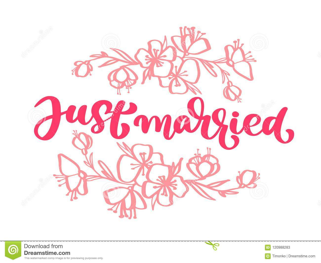 wedding decorative vector hand drawn lettering of text pink just