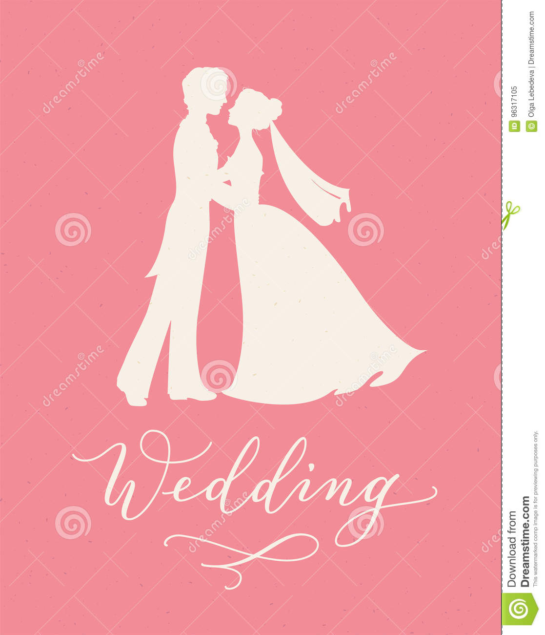 Wedding Design Concept With Bride And Groom Silhouettes And Hand ...