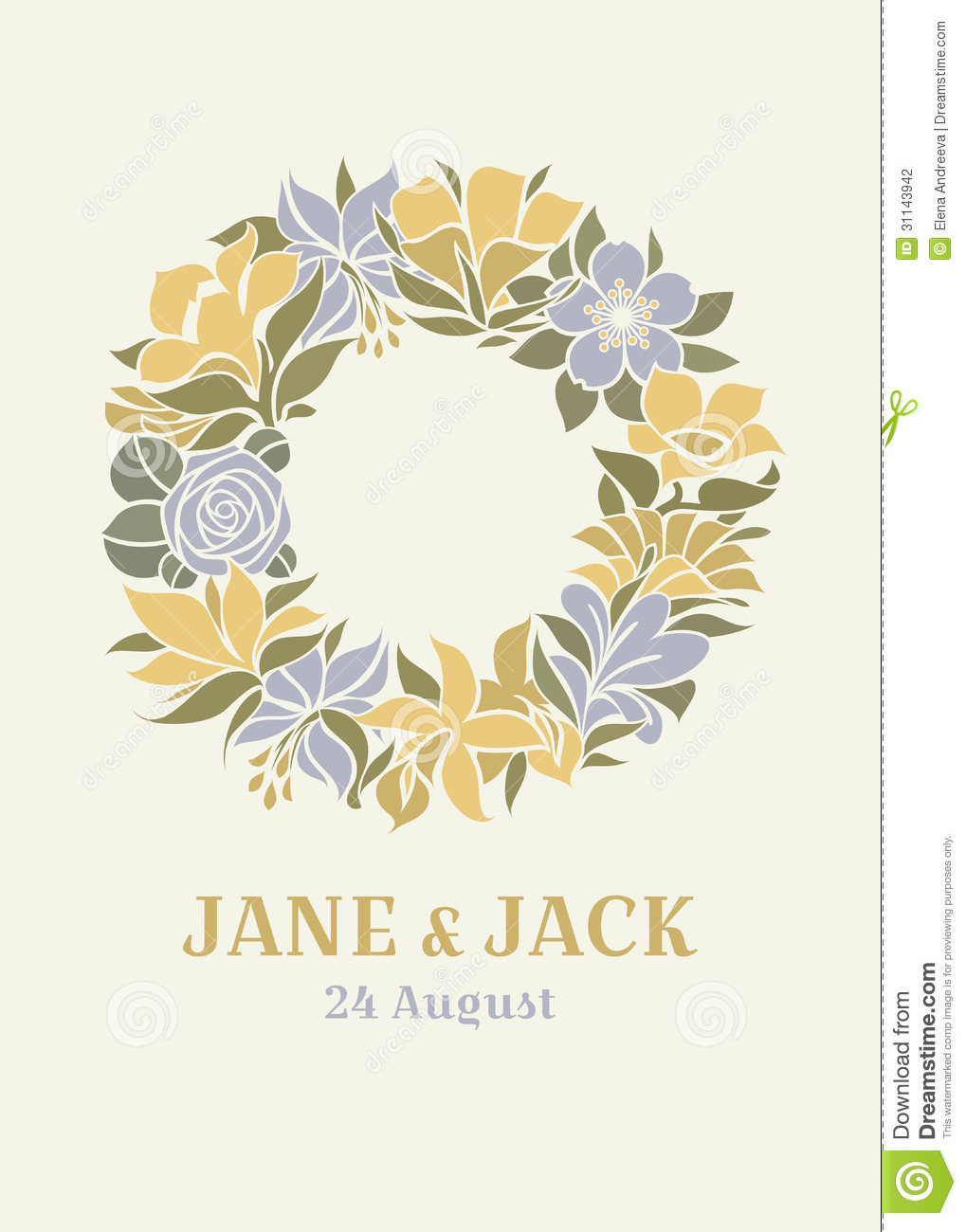 Wedding Design With Floral Wreath Stock Photography - Image: 31143942