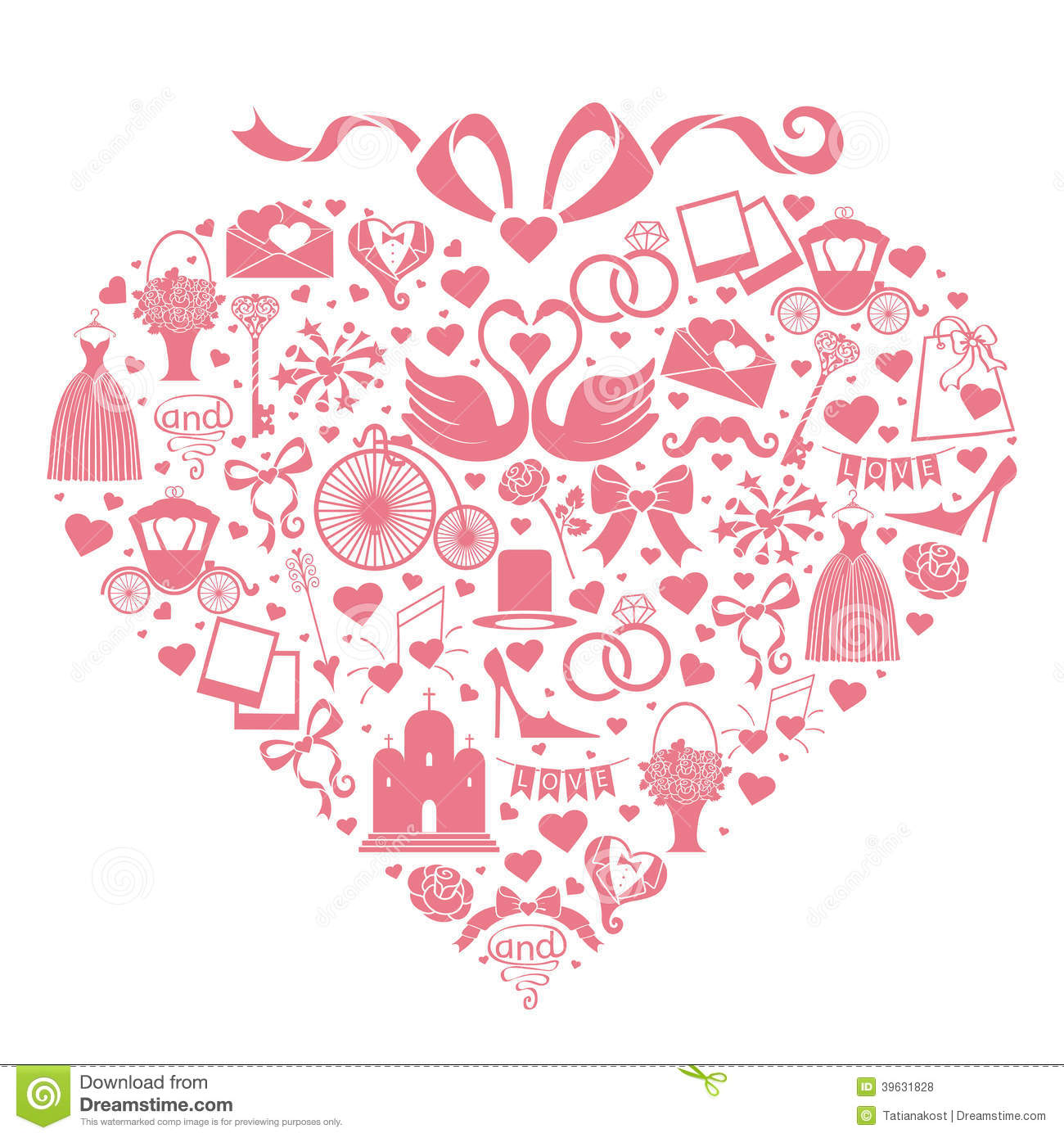 wedding design icons for web and mobile in hearts stock vector