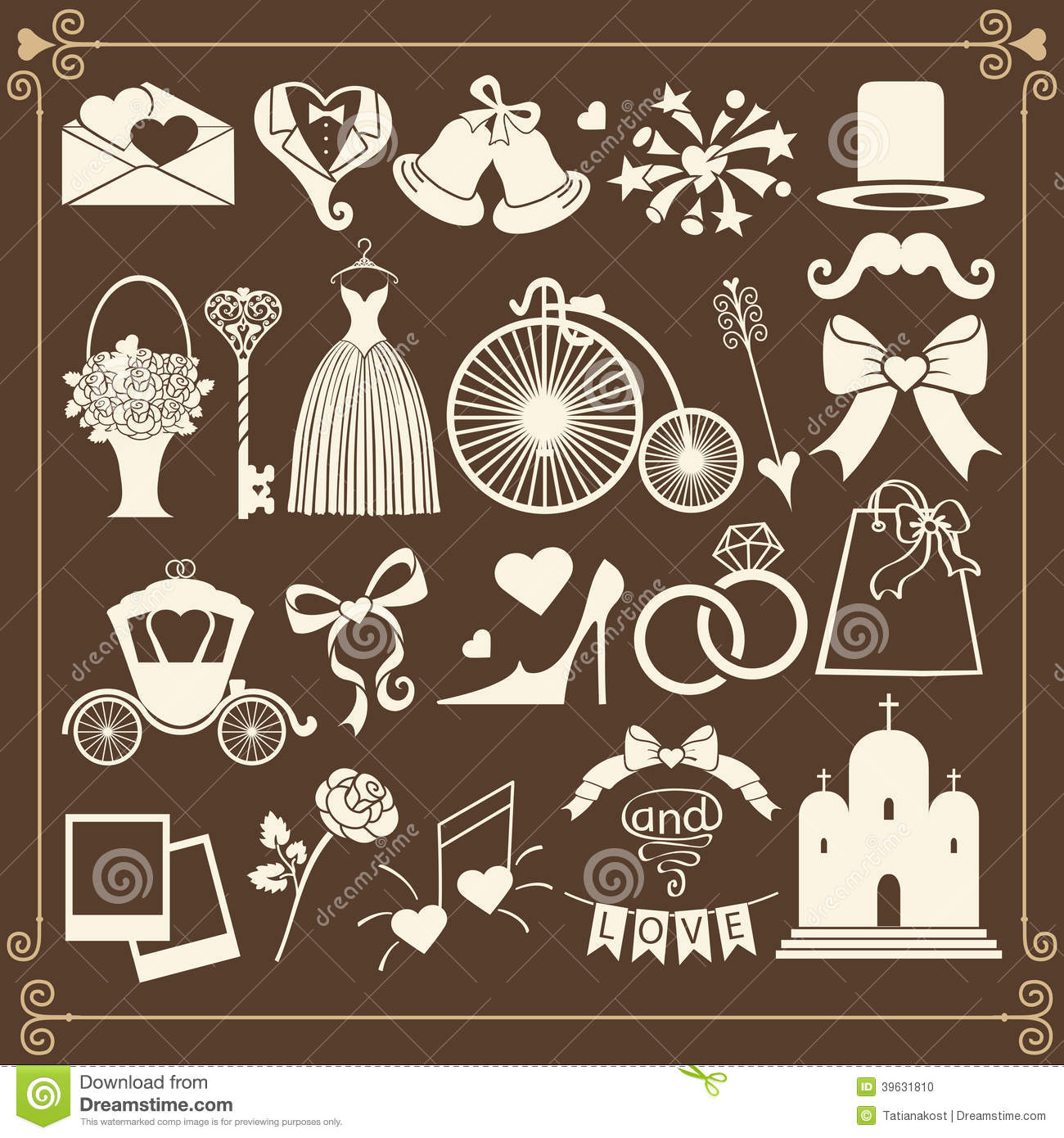 Vector Design wedding icons for Web and Mobile.Set of wedding items in ...