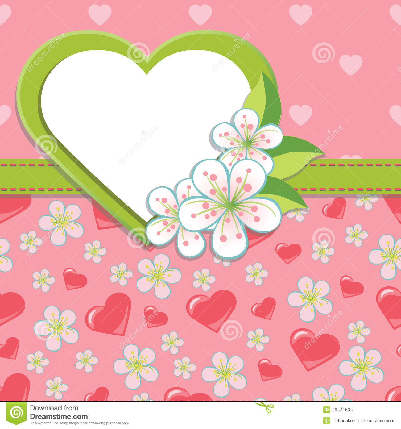 Wedding Design template.Cherry flowers and hearts