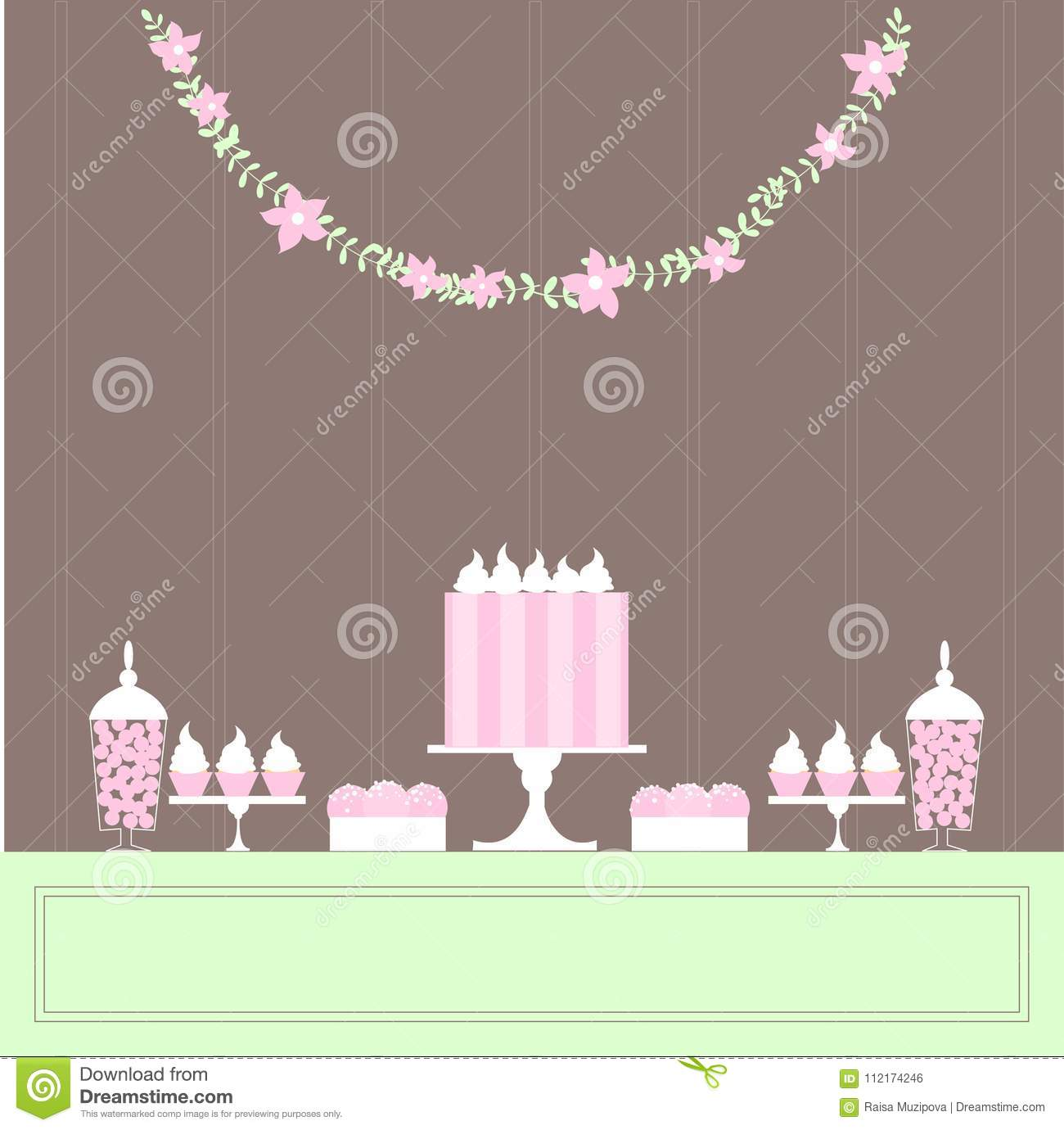 Candy buffet with cake and sweets stock vector illustration of download candy buffet with cake and sweets stock vector illustration of material chocolate watchthetrailerfo