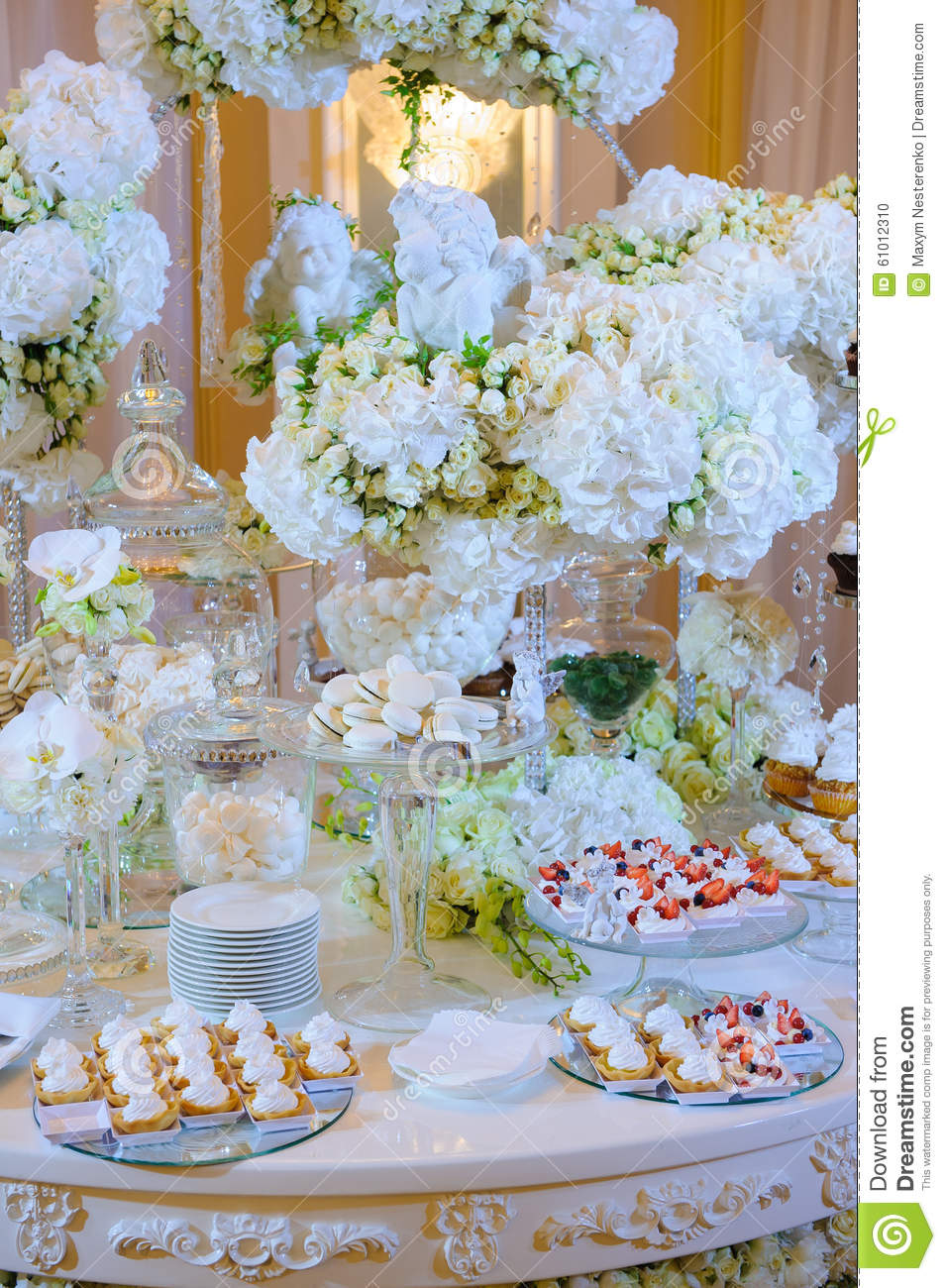 wedding cake dessert table photos wedding dessert table with cakes and white flowers stock 22520