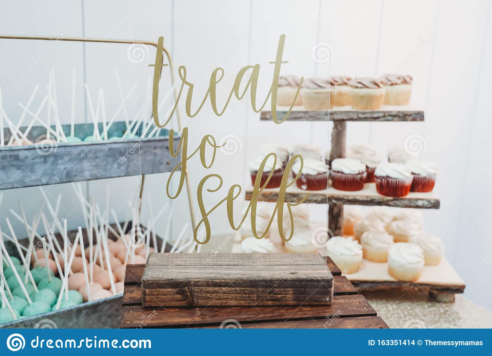 Wedding Dessert Table With Unique Sign Stock Photo Image Of Bright Dessert 163351414