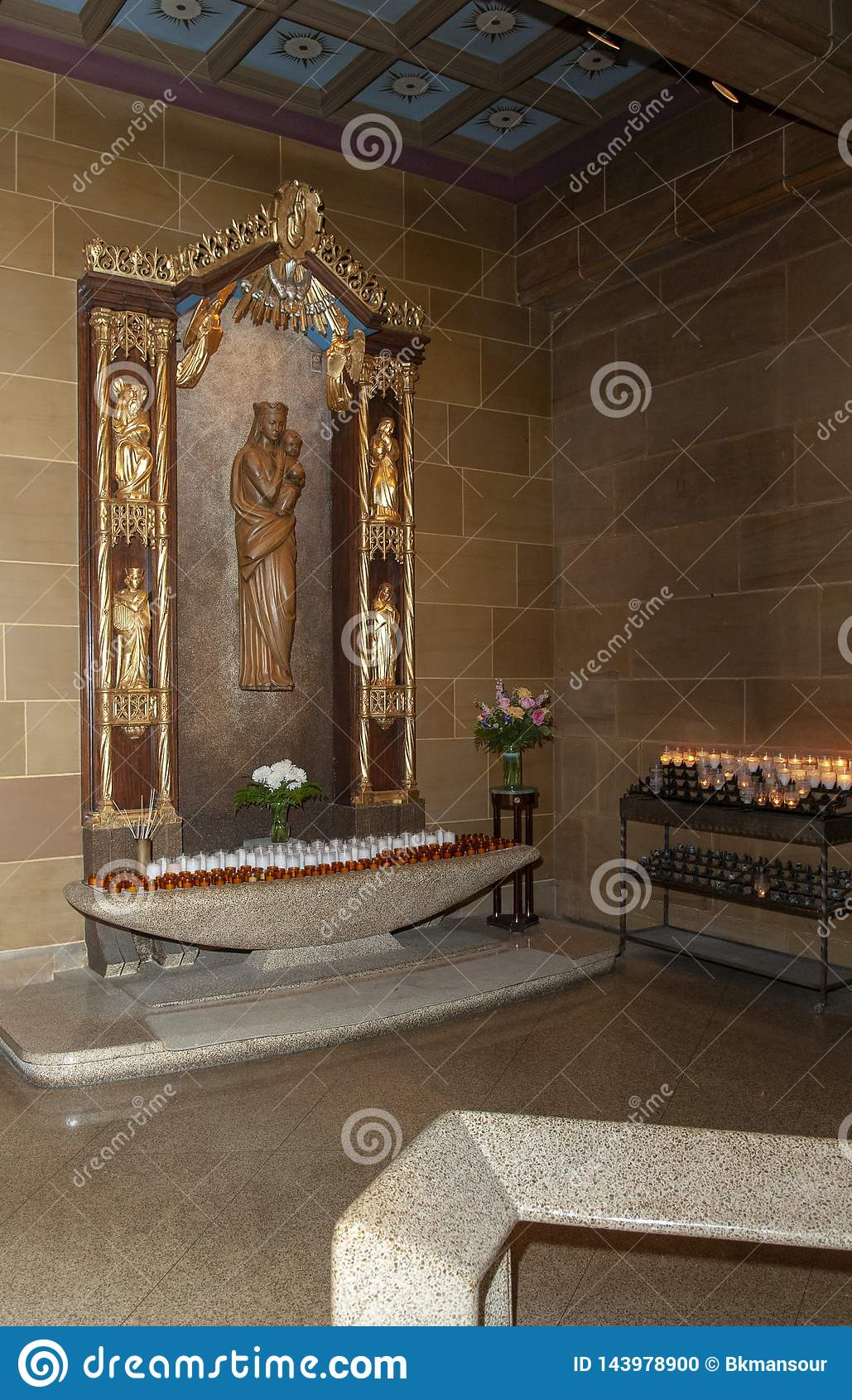 The Inside of a Catholic Church beautiful prayer alter.