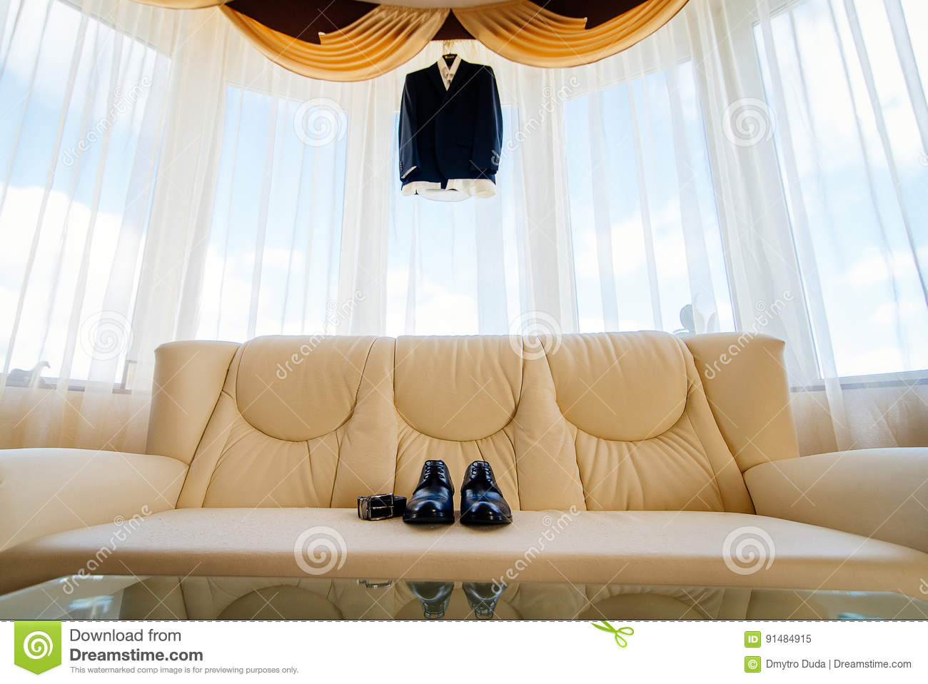 Wedding Details Groom Accessories Shoes And Belt On Leather Sofa  ~ Leather Sofa Accessories