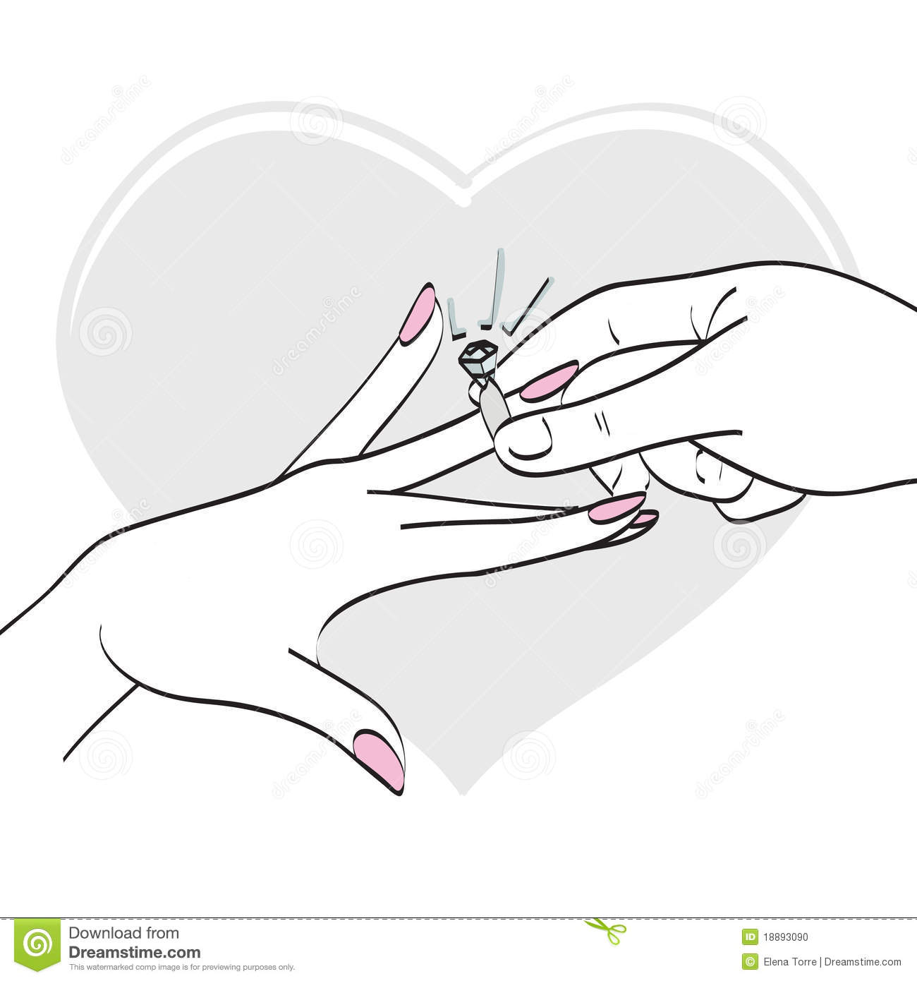 Drawing Of Couple Wearing Rings