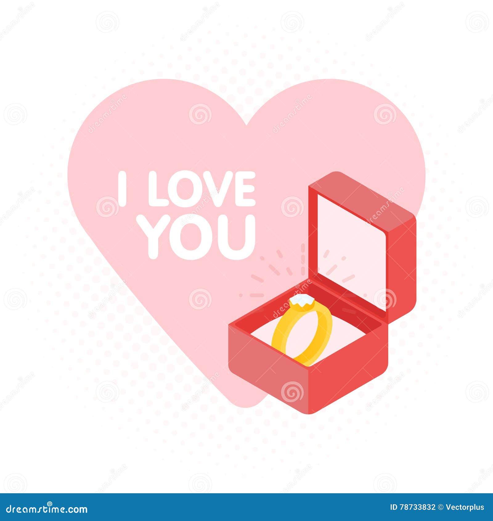 Wedding Diamond Ring In A Box. Vector Illustration Stock Vector ...