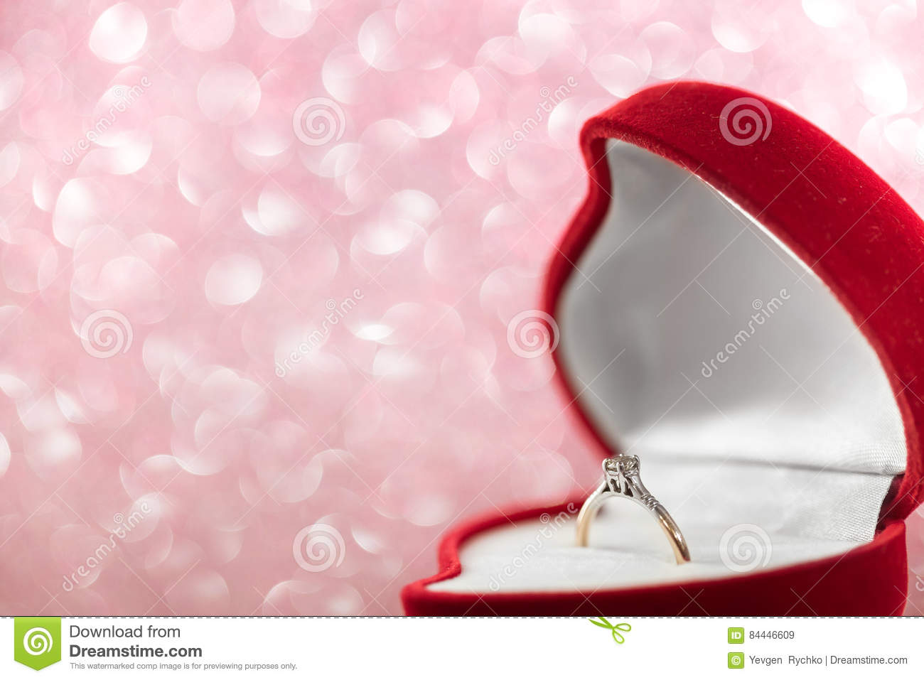 Wedding Diamond Ring In Red Heart Shaped Gift Box Stock Image ...