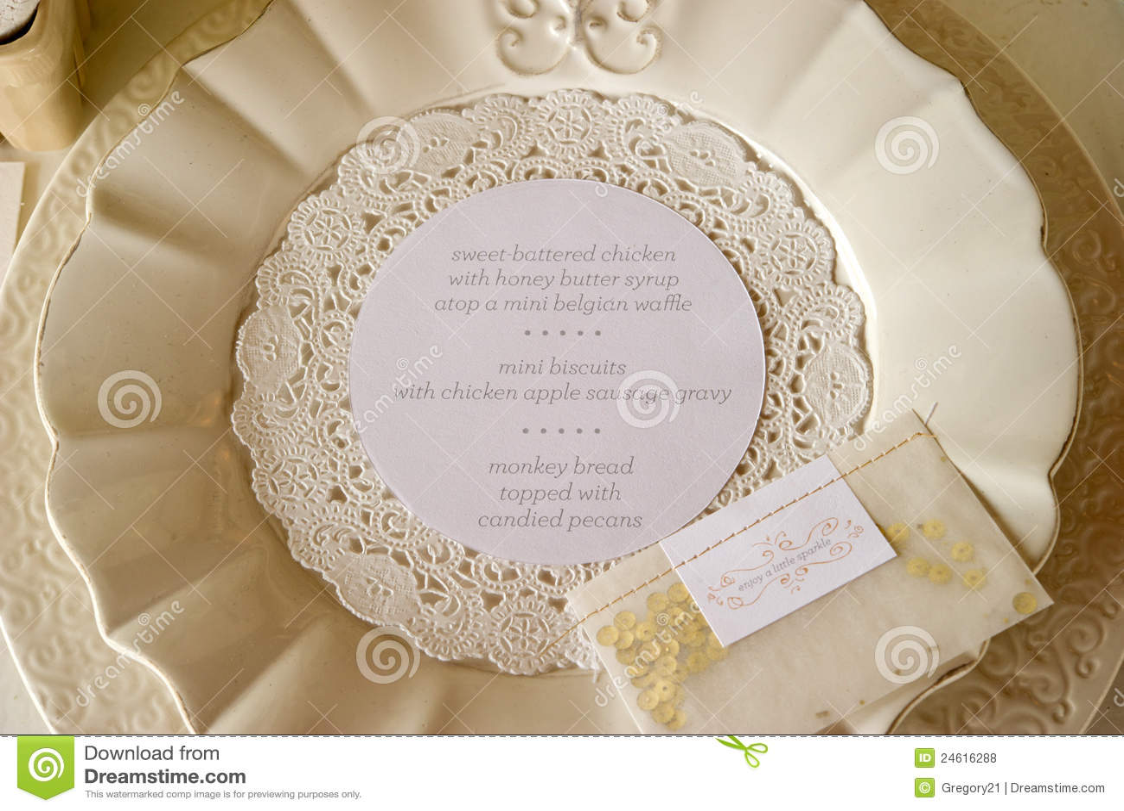 Wedding Dinner Menu Place Setting Royalty Free Stock Photos