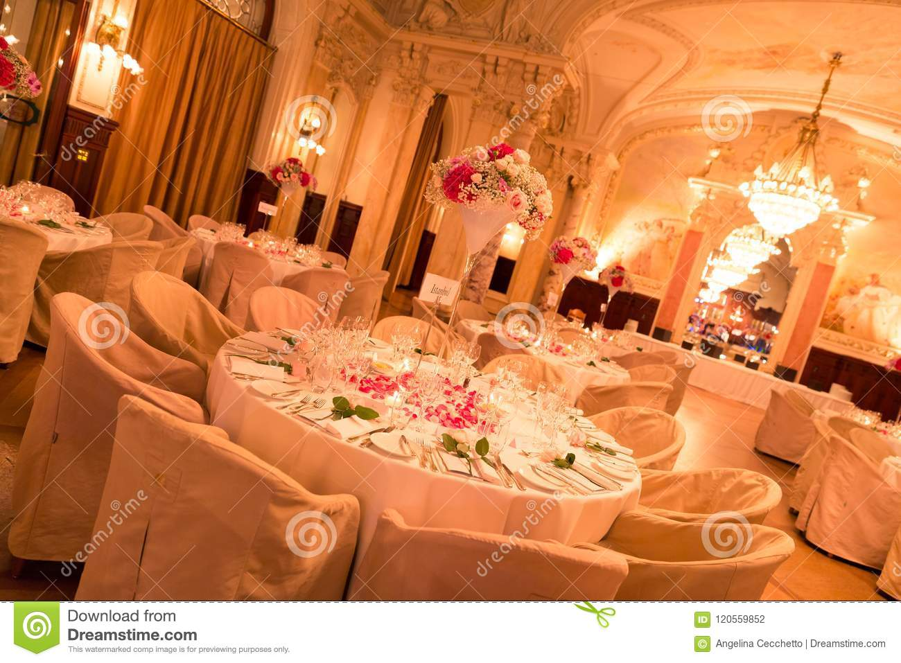 Renaissance Style Wedding Reception Room And Candle Lit