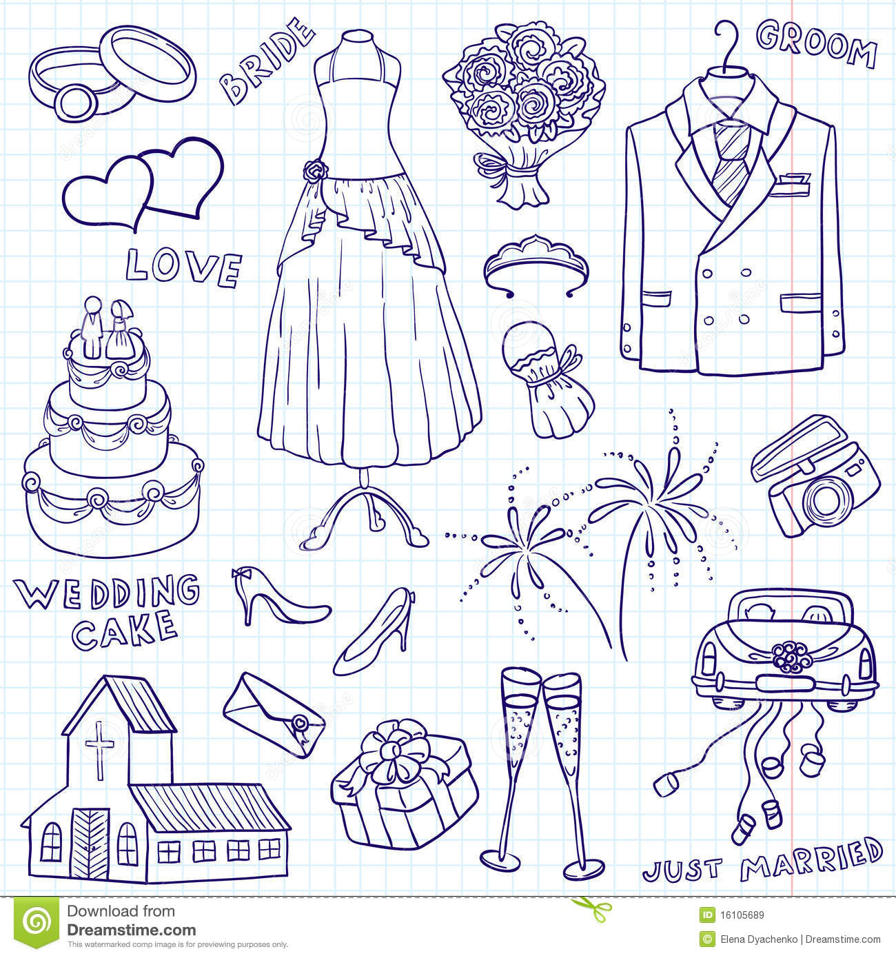 Wedding Doodles Royalty Free Stock Images - Image: 16105689