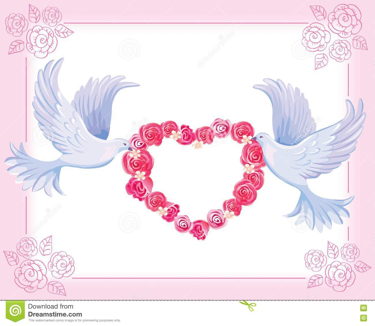 wedding doves stock vector image of feathers roses