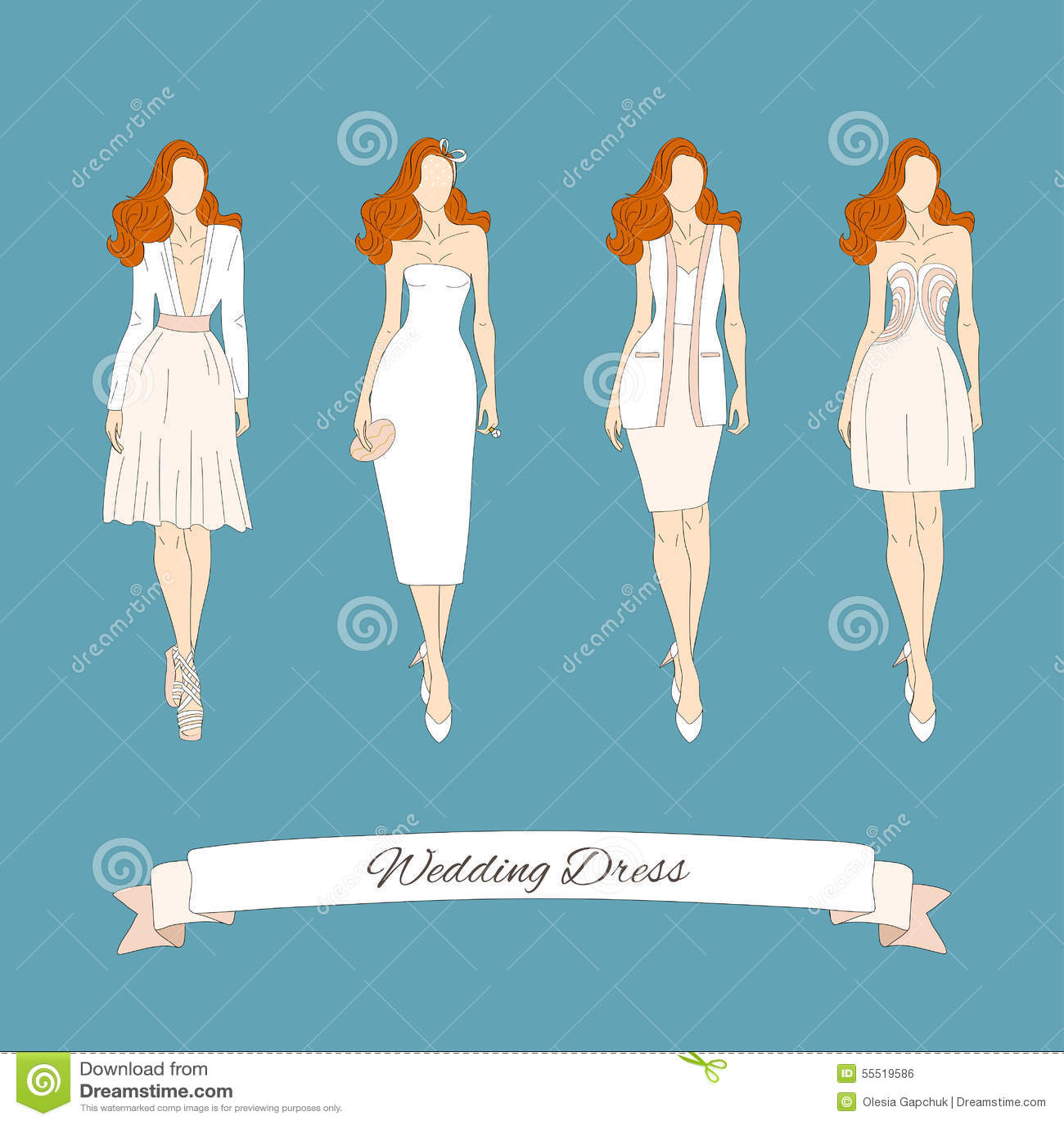 Wedding draw dresses set.