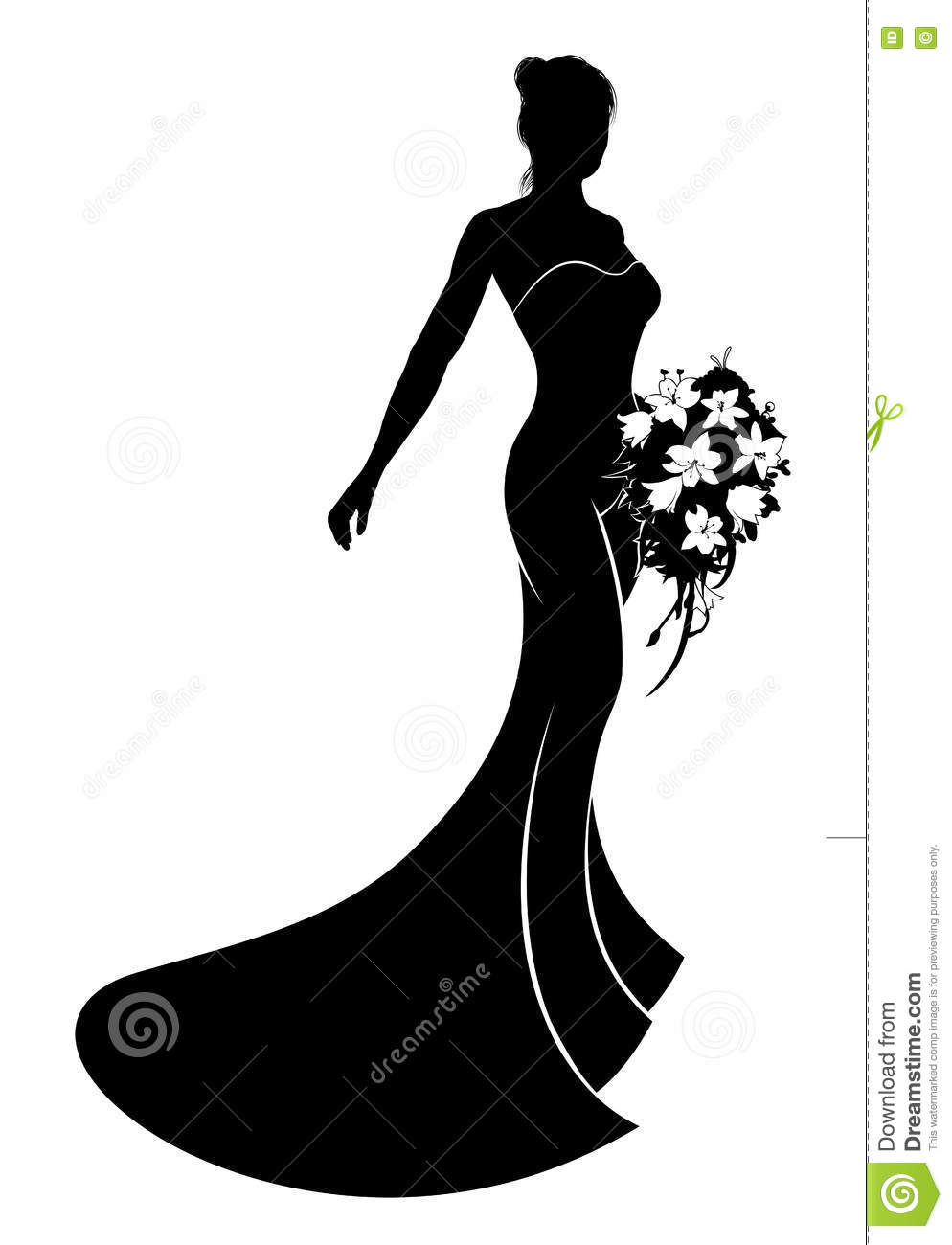 Wedding Dress Bride Silhouette Stock Vector - Illustration of bride ...
