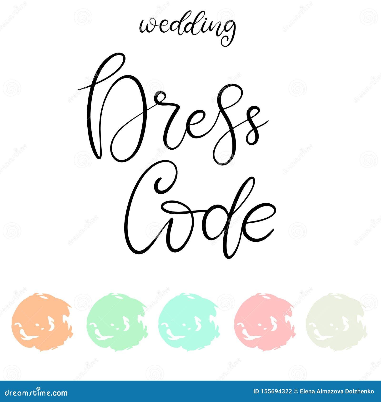 Wedding Dress Code Color Palette Stock Vector Illustration