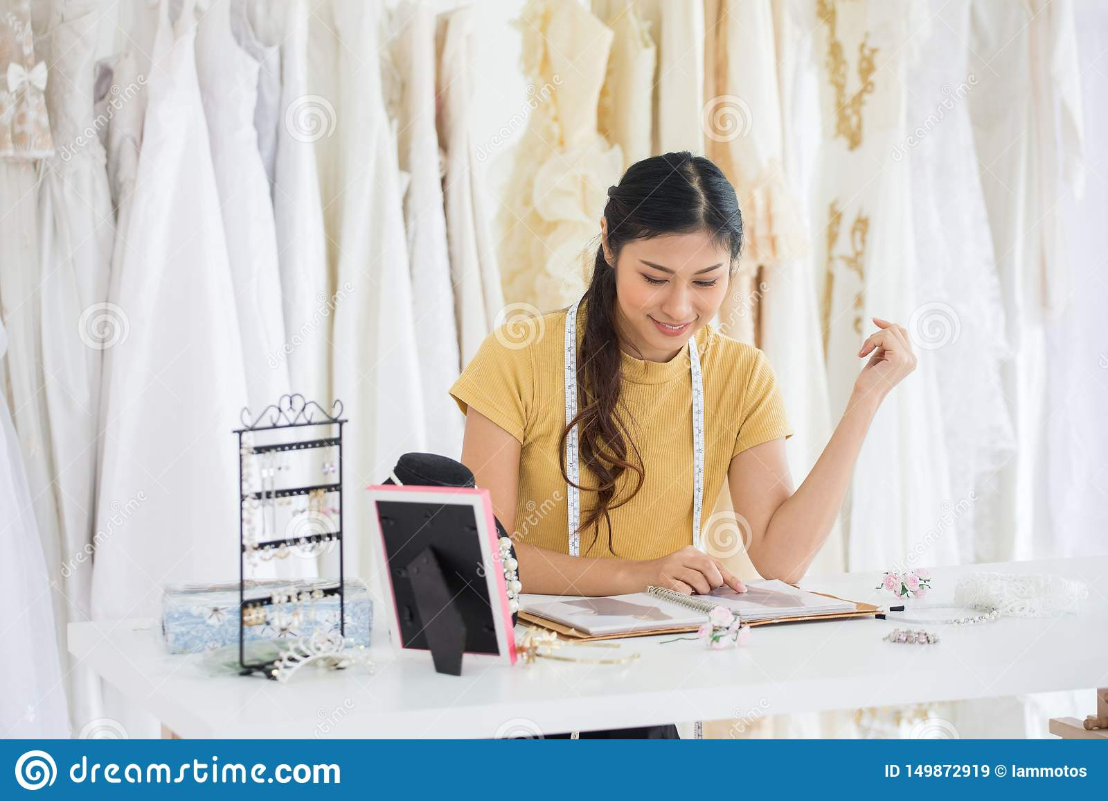 Wedding Dress Designer Working In Wedding Salon Of Fashion Store Stock Image Image Of People Clothing 149872919