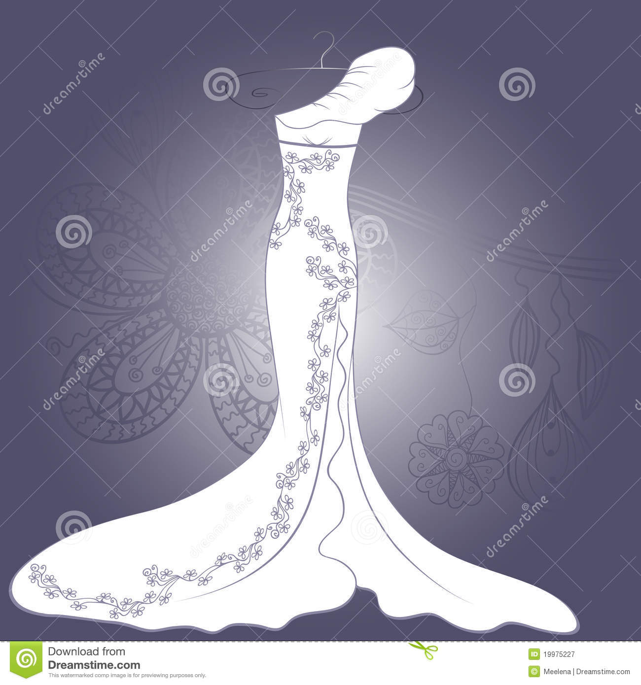 Wedding Dress With Floral Pattern Royalty Free Stock