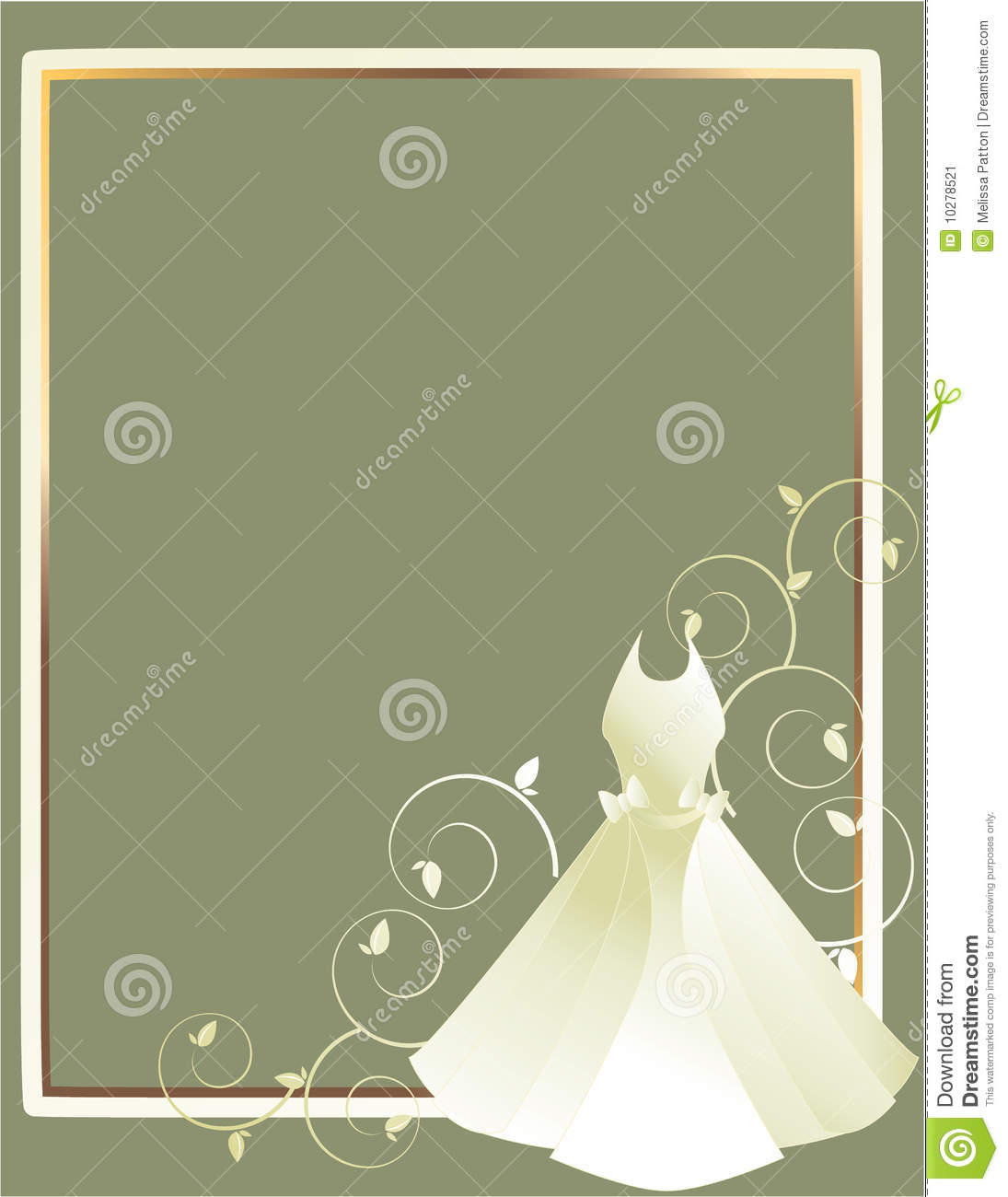 Wedding Dress Frame Gray Background Stock Vector - Illustration of ...