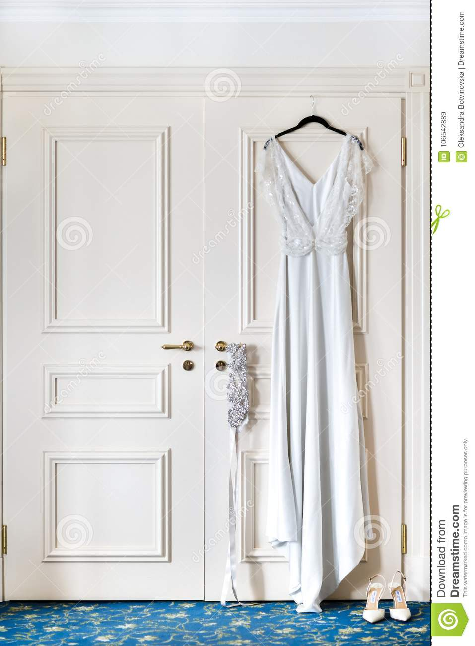 Wedding Dress Hanging On A Hanger In A Hotel Room On The Door Stock Image Image Of Lifestyle Hang 106542889