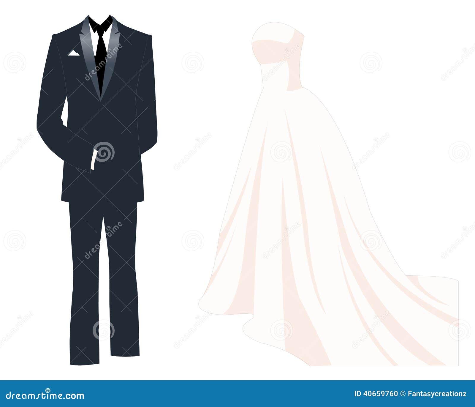 Wedding Dress Stock Vector. Illustration Of Suit, Veil