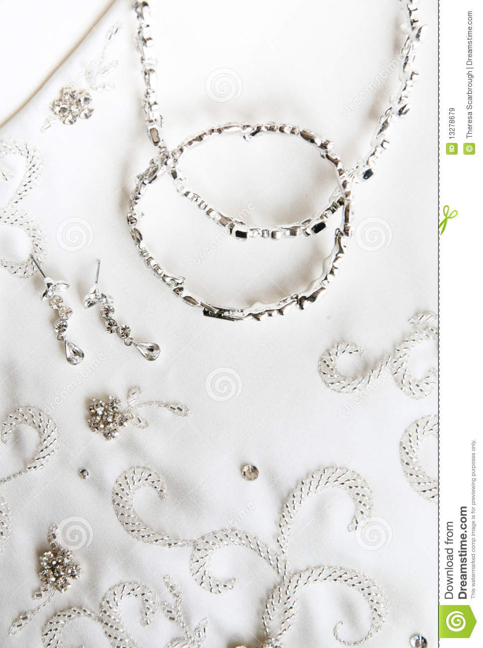 Wedding Dress And Jewelry Royalty Free Stock Images