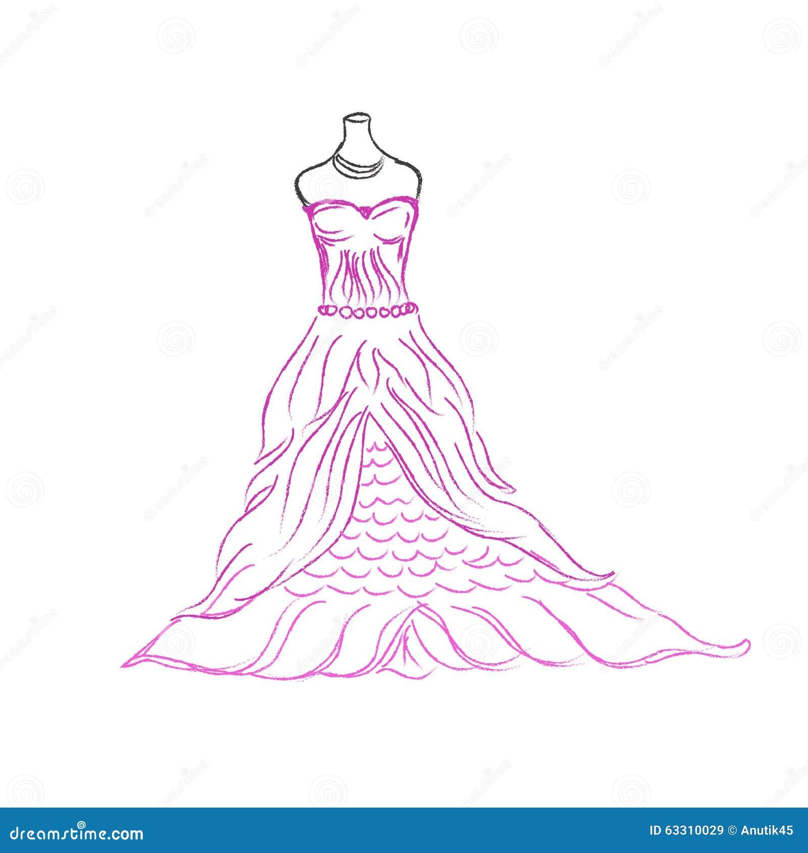 Wedding Dress Sketch Vector Illustration On White Background Stock Vector