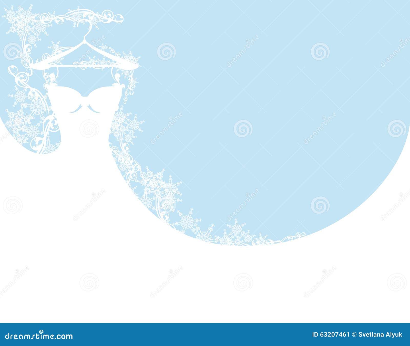 Wedding Dress Among Snowflakes Stock Vector Illustration Of Vector