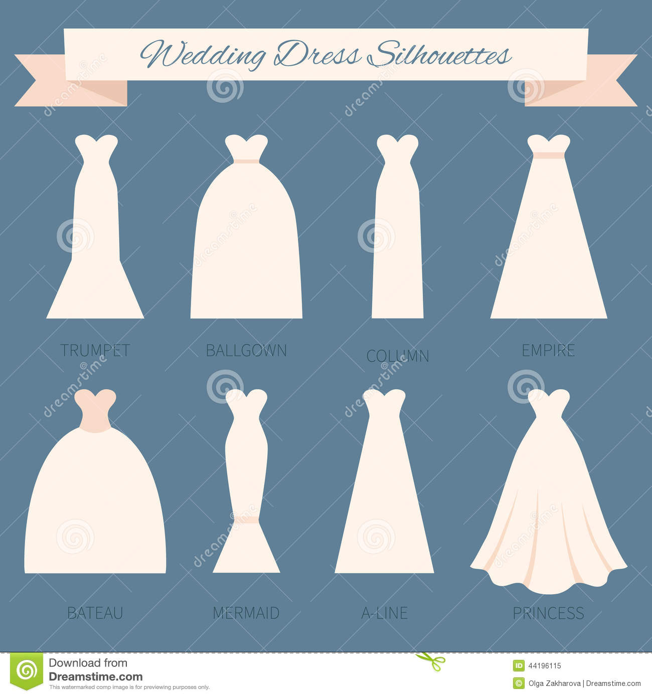 Hairstyle For Wedding Dress Type: Wedding Dress Style Stock Illustration