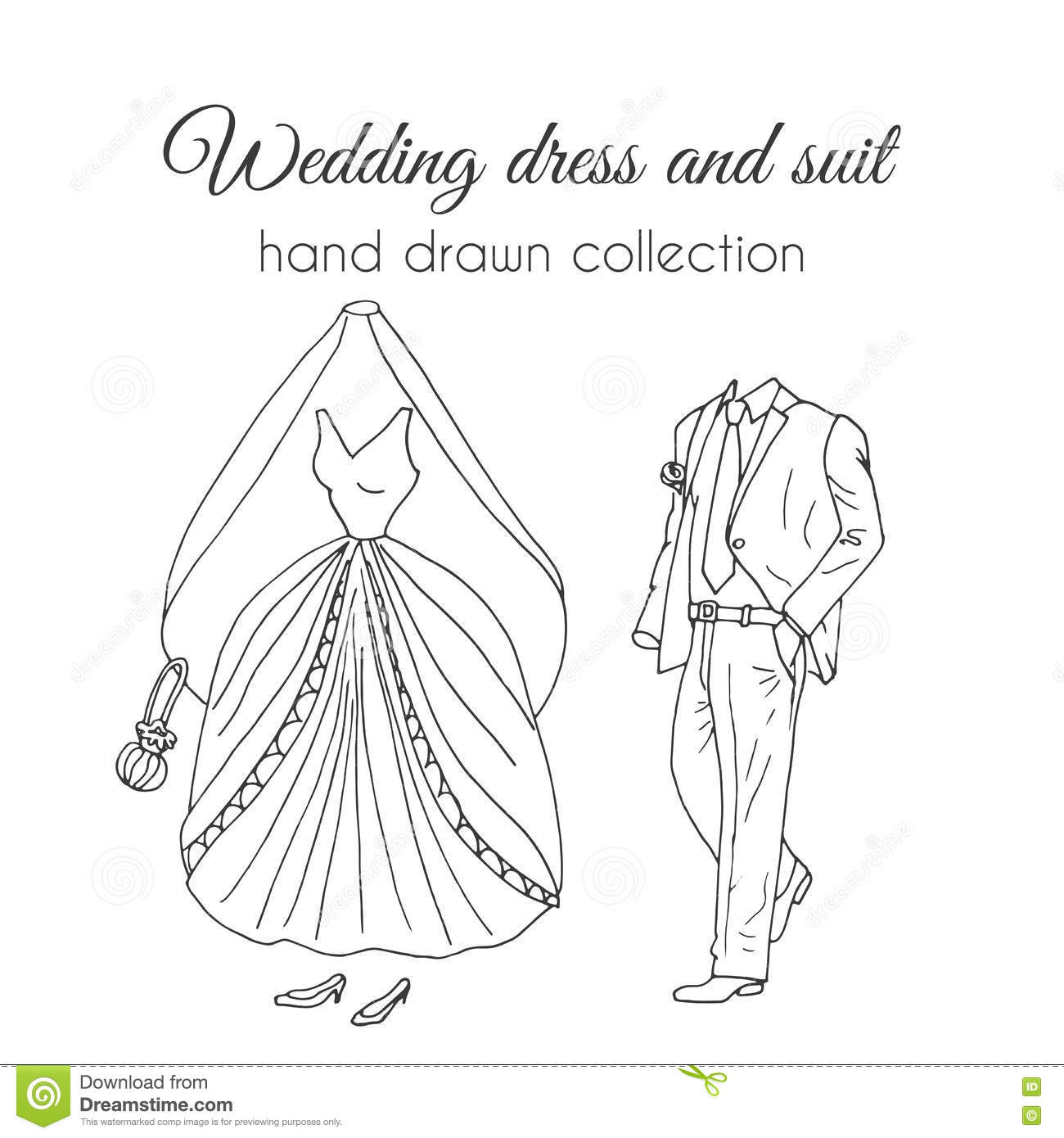 Wedding Dress And Suit Illustration Sketchy Style Hand - Fashion Dress Sketches Black And White