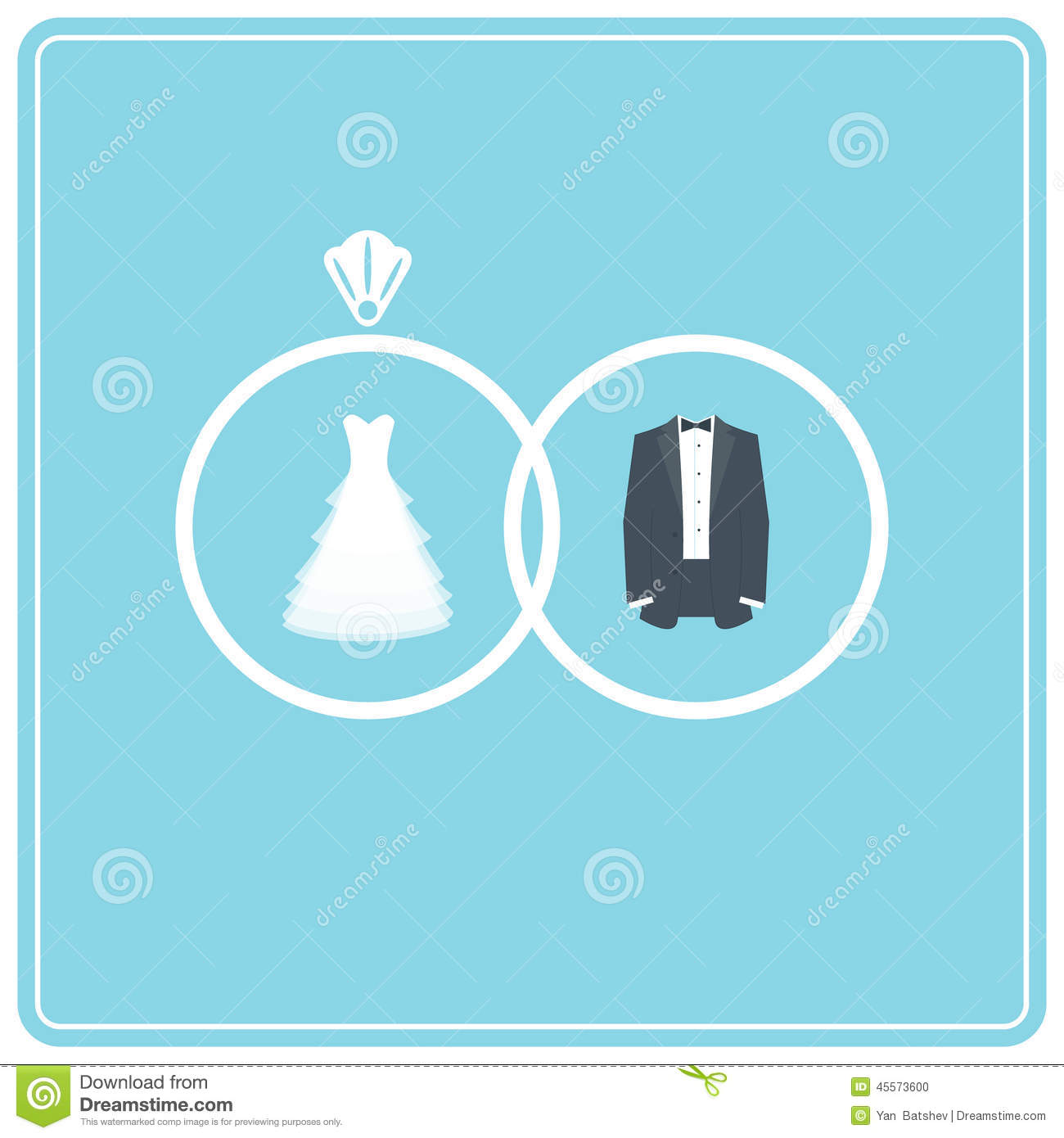 Wedding Dress And Suit. Two Wedding Rings Stock Vector ...