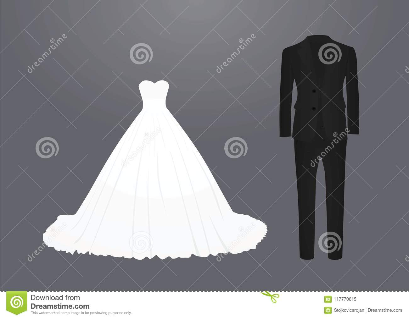 wedding dress and suit stock vector illustration of wedding 117770615