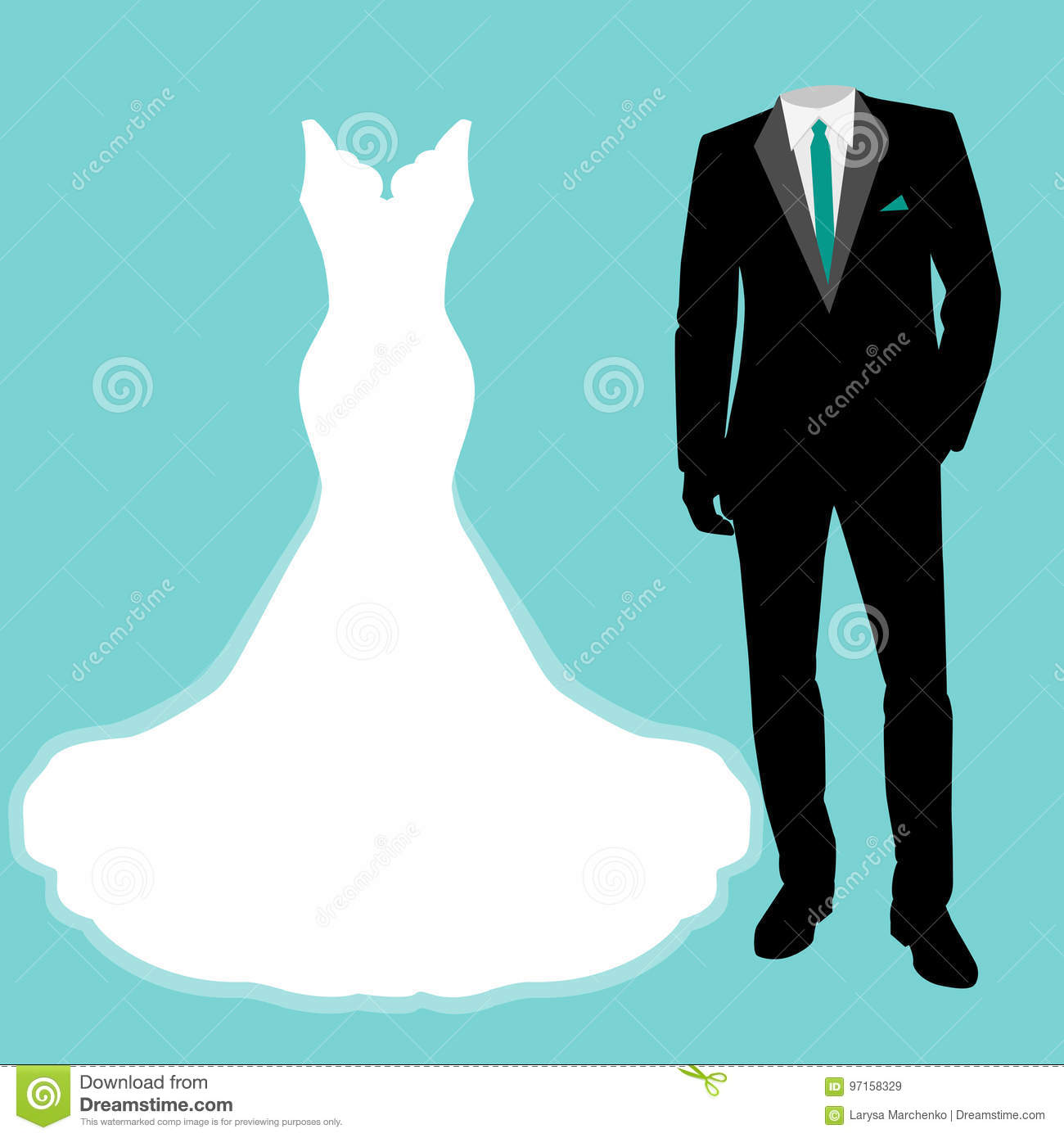Wedding dress and tuxedo. stock vector. Illustration of engagement ...
