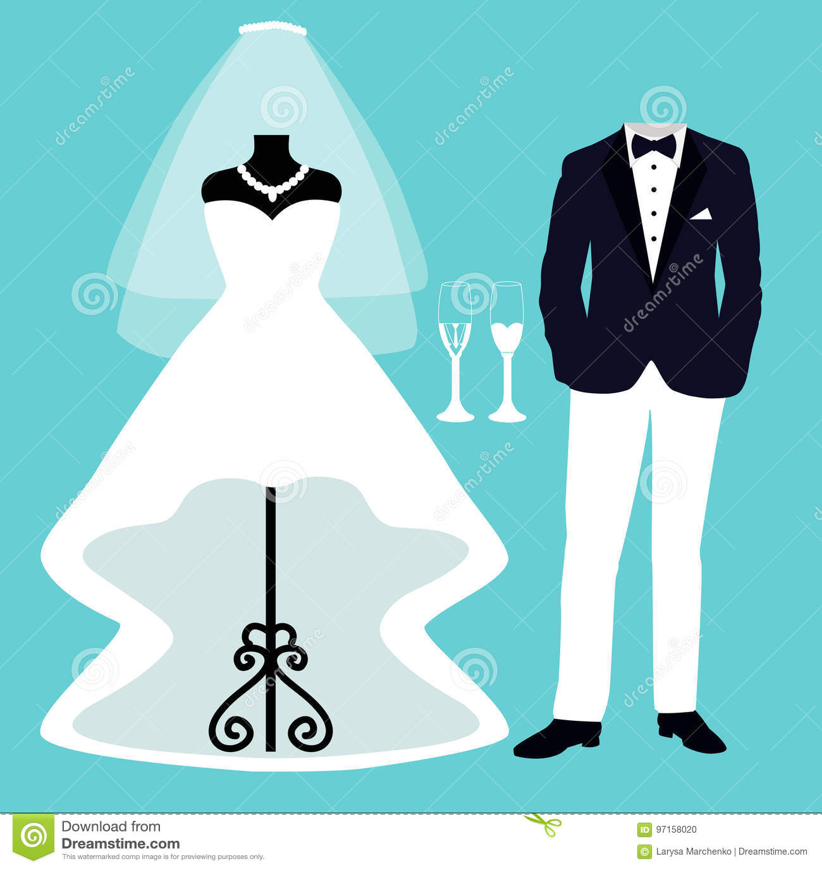 Wedding dress and tuxedo. stock vector. Illustration of pattern ...