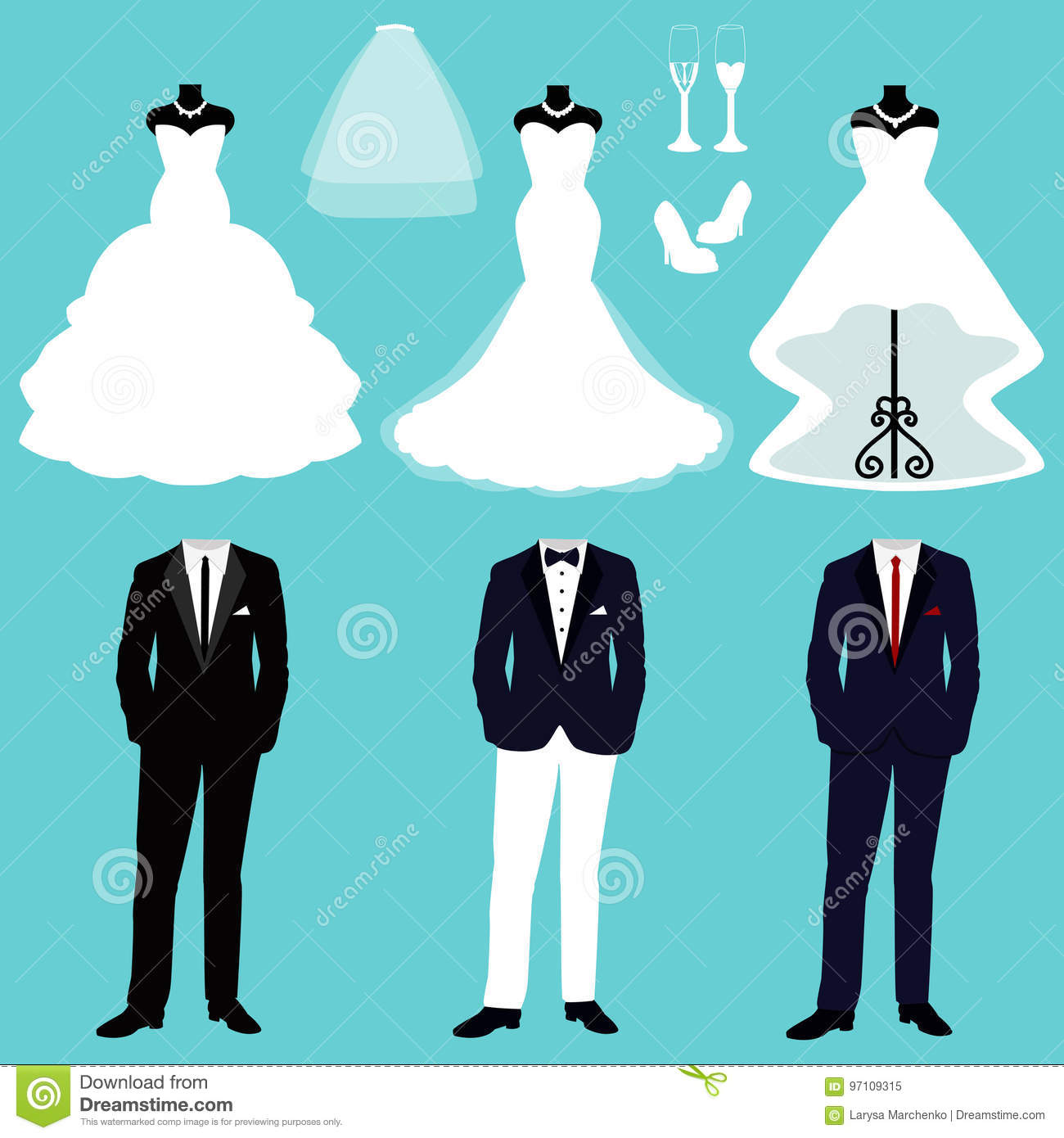 Wedding dress and tuxedo. stock vector. Illustration of clothes ...