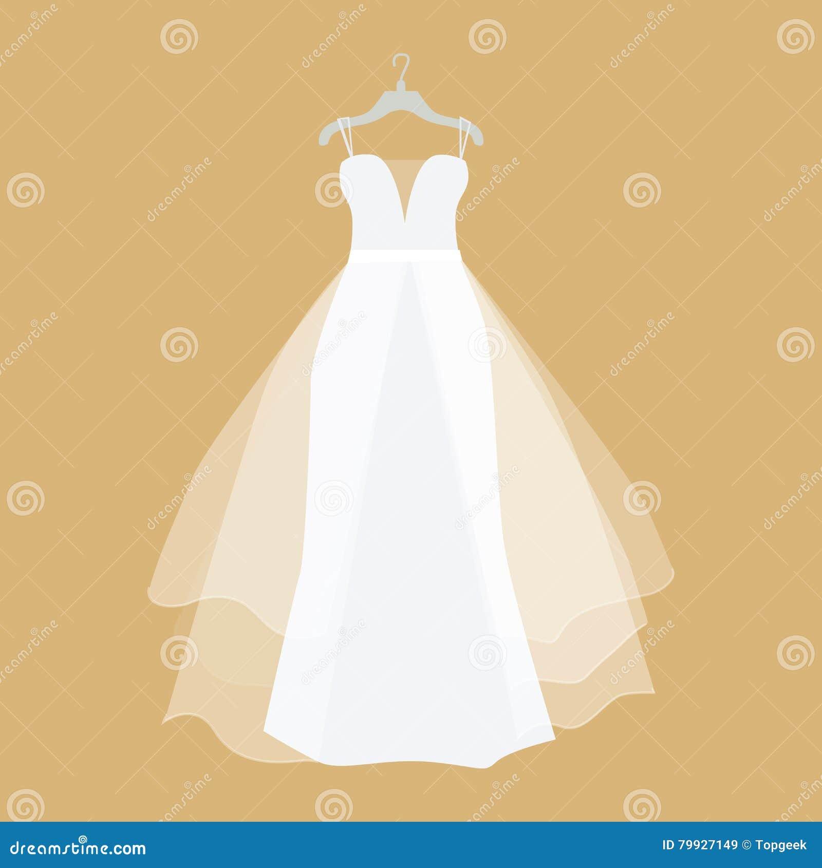 Wedding Dress Vector Illustration In Flat Design Cartoon