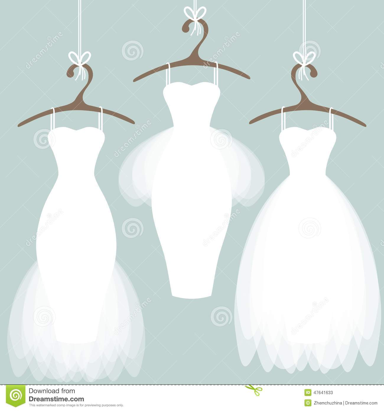 Wedding dresses on hangers stock vector image 47641633 for Wedding dress hanger amazon
