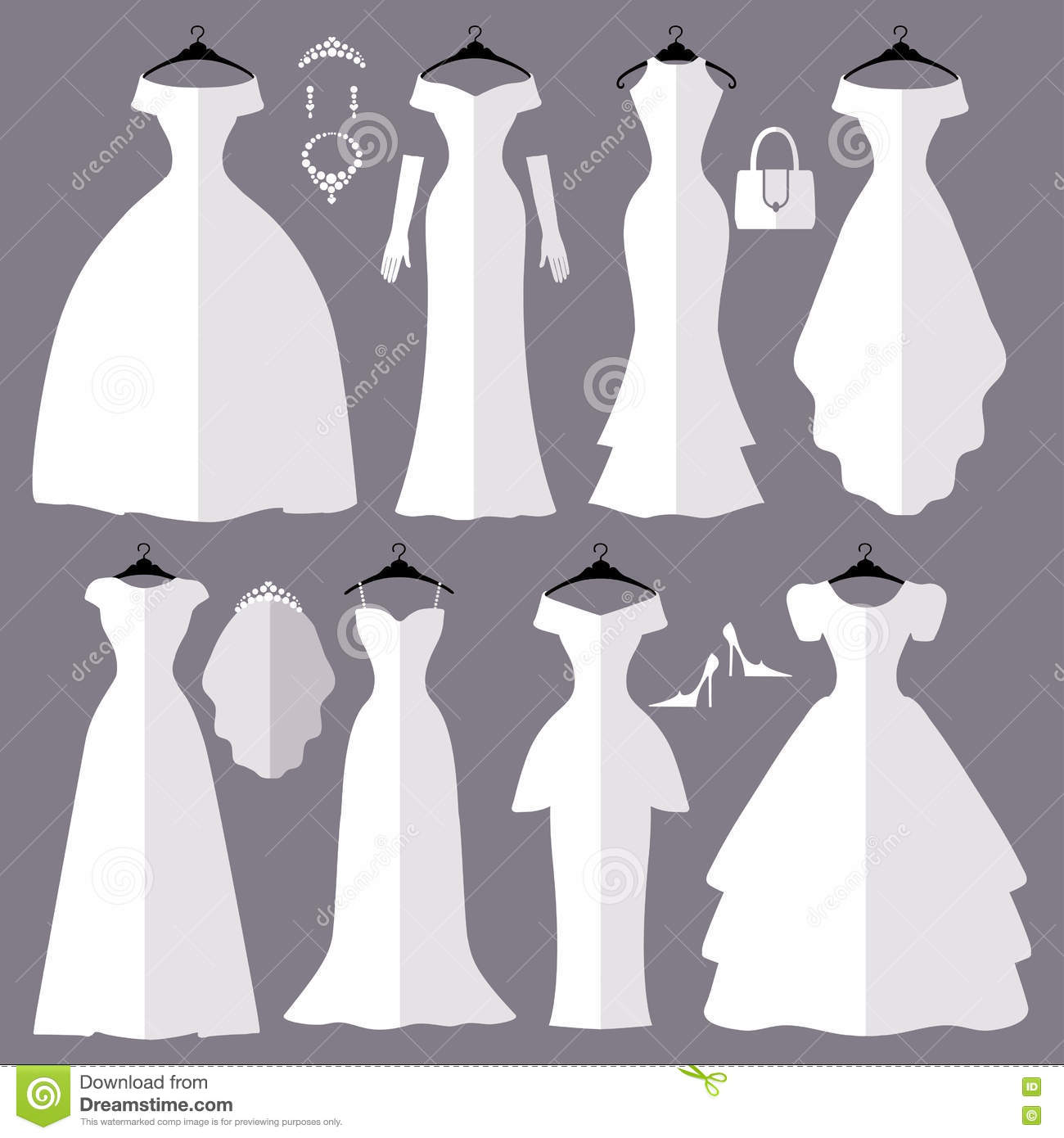 72da1b1833c Wedding dresses in Different styles.Flat icons.Fashion bride Dress made in  modern style.White dress