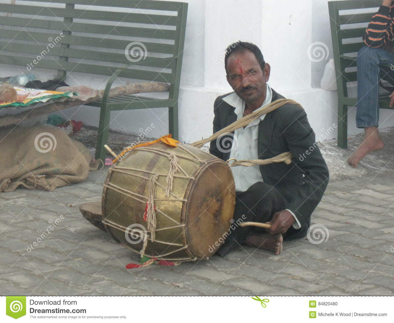 Wedding drummer at Kunjapuri Temple near Rishikesh India
