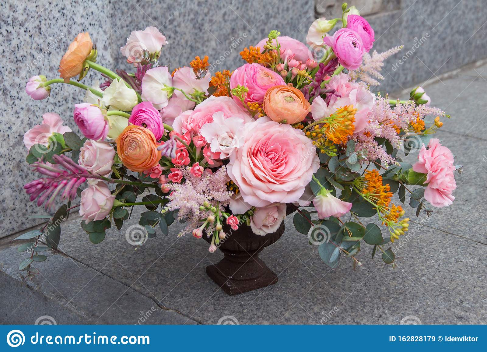Wedding Designer Red Pink Orange Bouquet Of Florist With Different Flowers Peony And Roses Stock Image Image Of Copy Peony 162828179