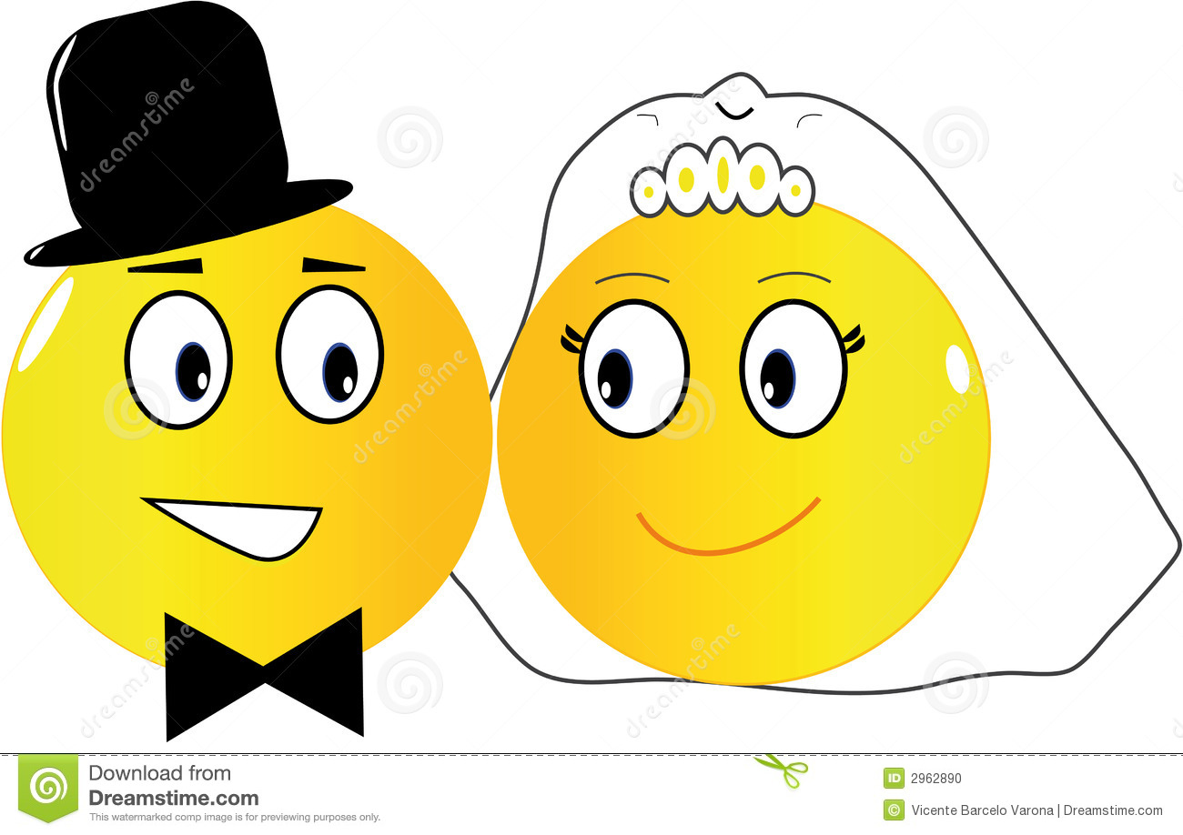 Two emoticons: the bride and the groom just married.