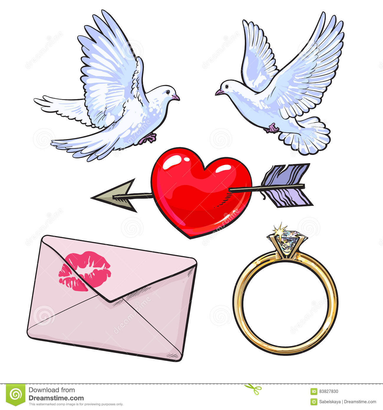 Wedding, Engagement Icon Set With Doves, Heart, Ring, Love Letter ...
