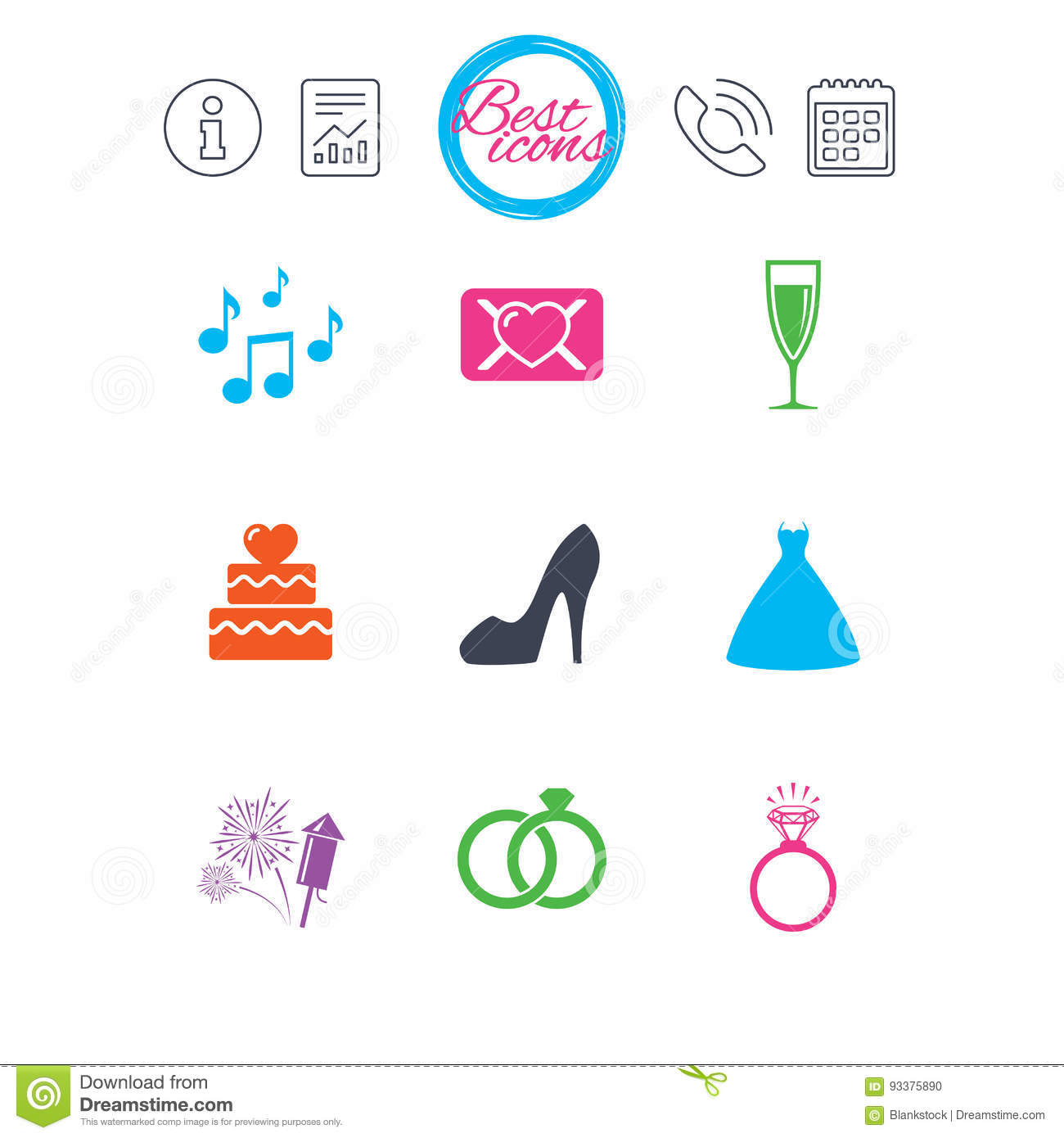 Wedding Engagement Icons Vow Love Letter Stock Vector