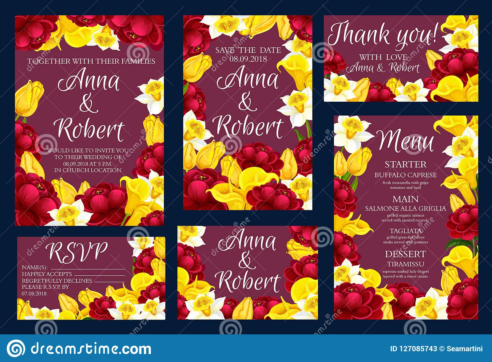 Wedding Engagement Invitation Cards With Flowers Stock