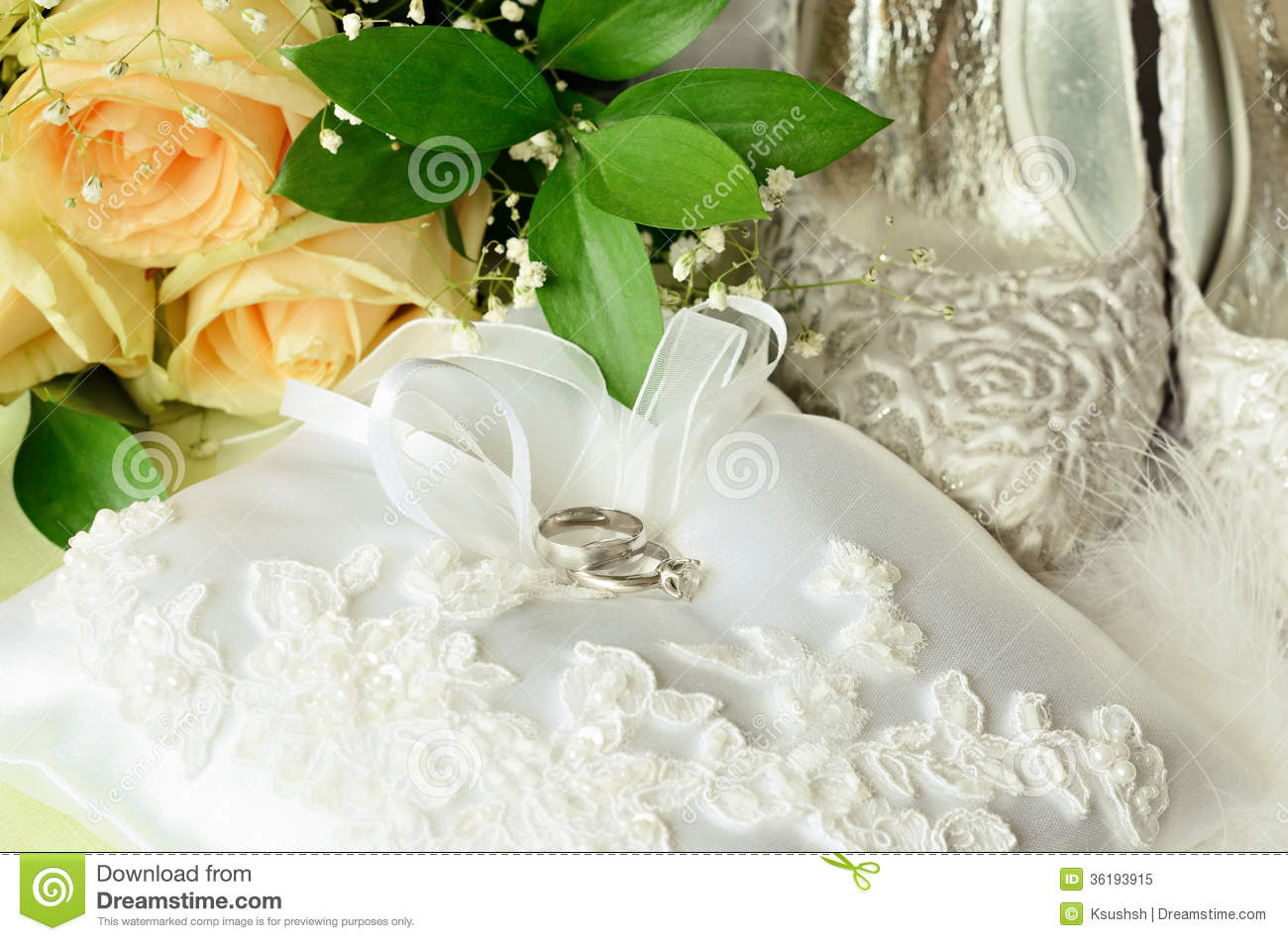 Wedding And Engagement Rings With Accessories Stock Image Image of