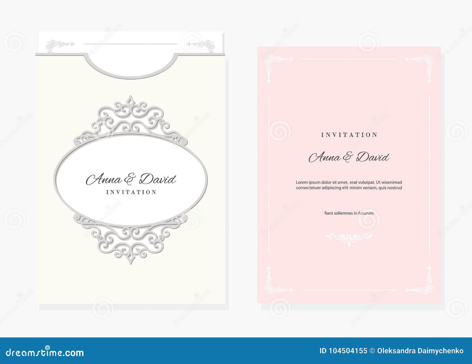 wedding envelope template laser cutting stock vector illustration