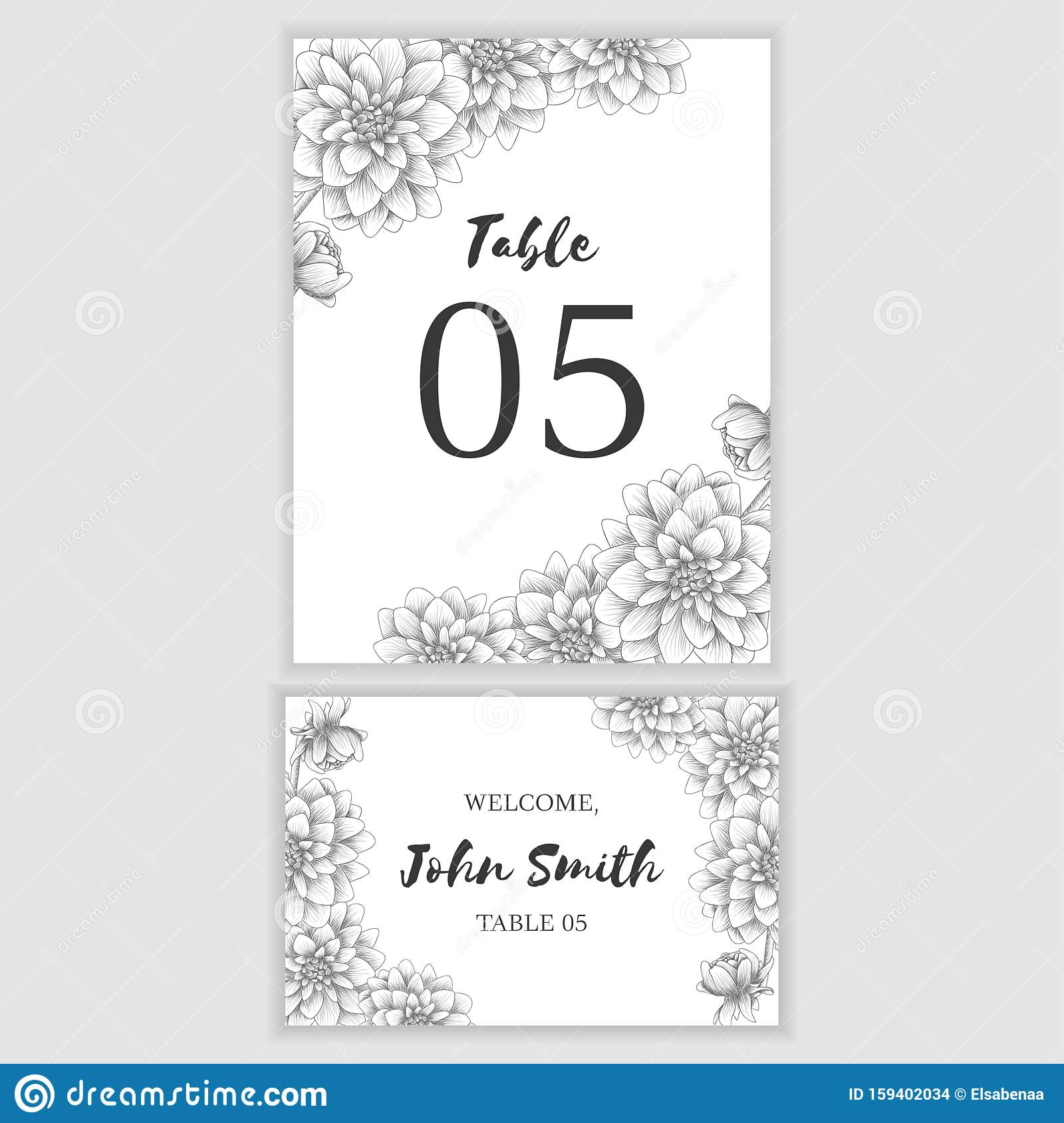Wedding Escort And Table Number Card Template With Sketch Of