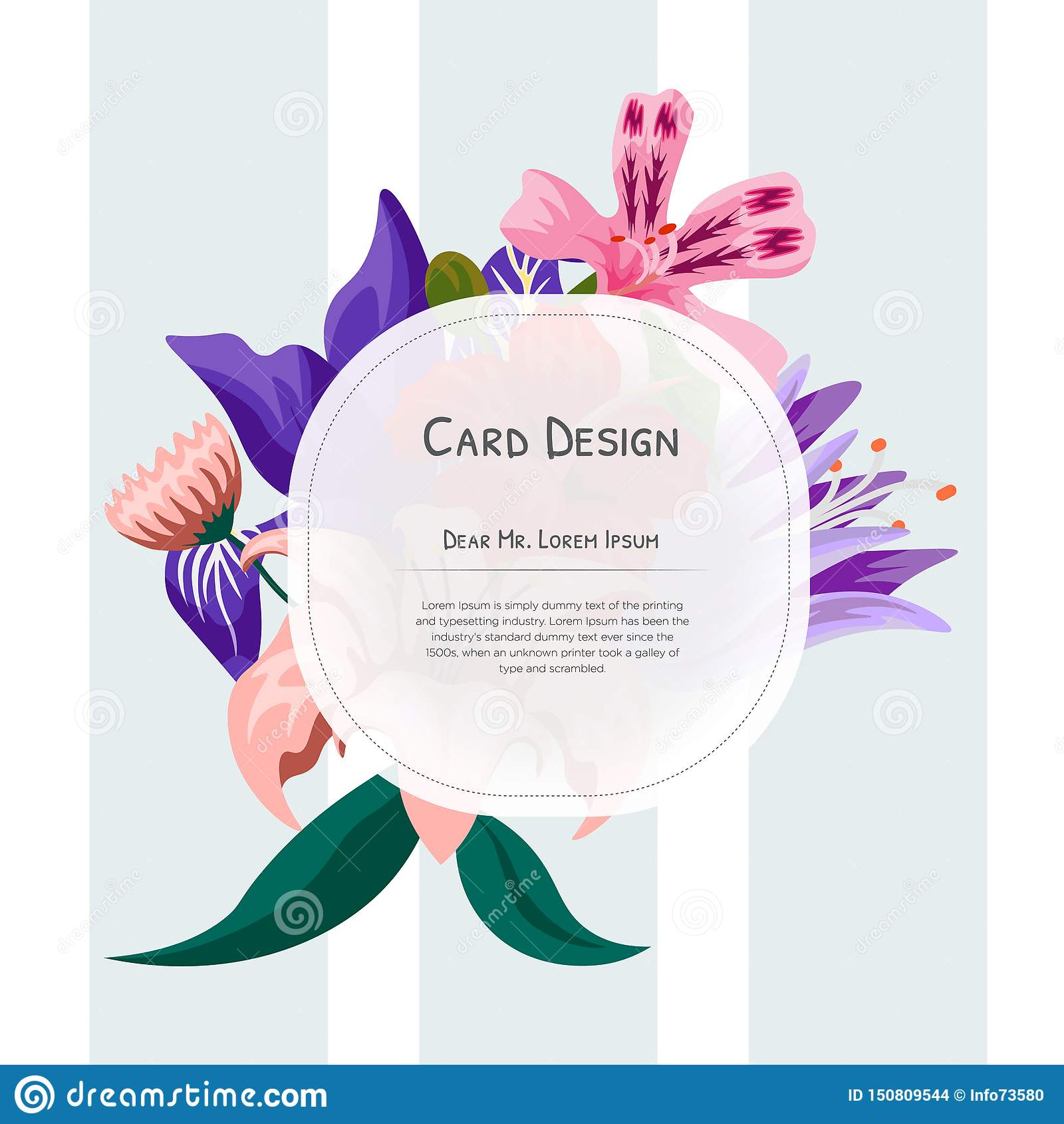 Wedding Event Invitation Card Design With Tropical Flowers
